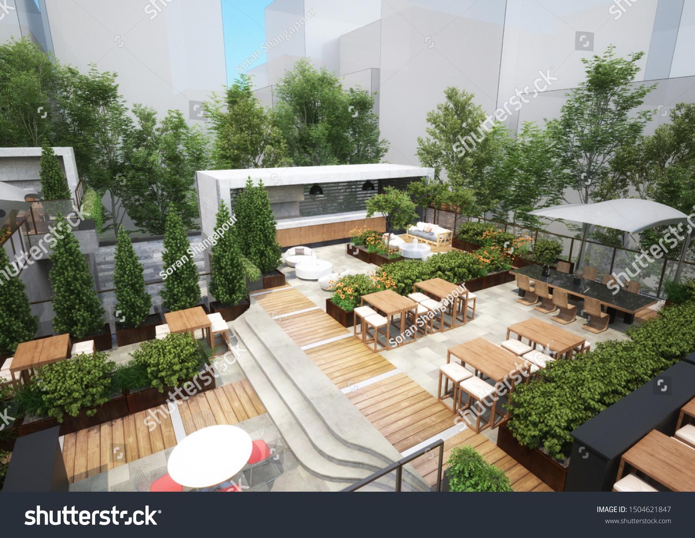 3d Rendering Roof Garden Restaurant Stock Illustration 1504621847