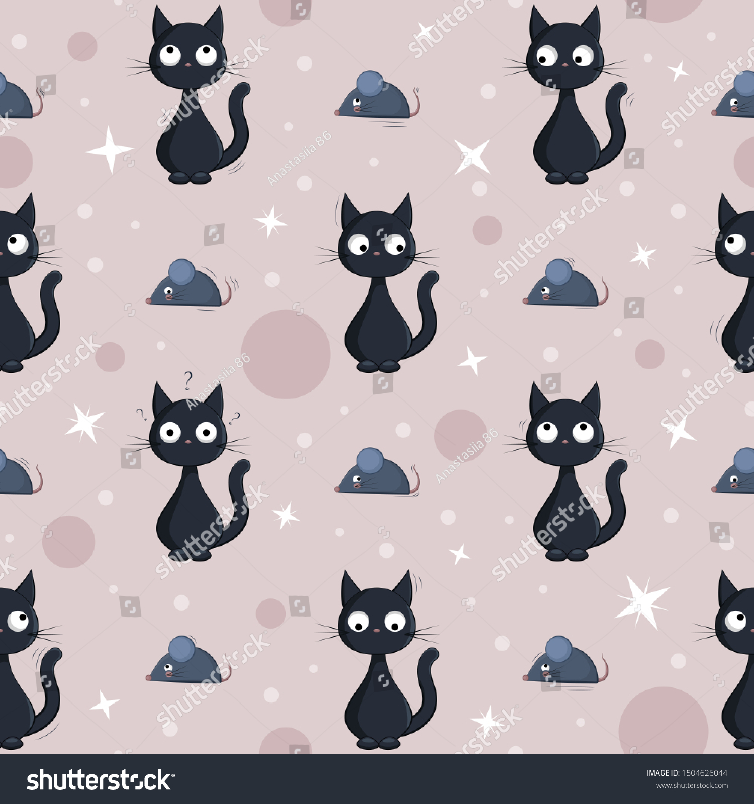 Seamless Background Cute Cartoon Black Cats Stock Vector Royalty Free 1504626044