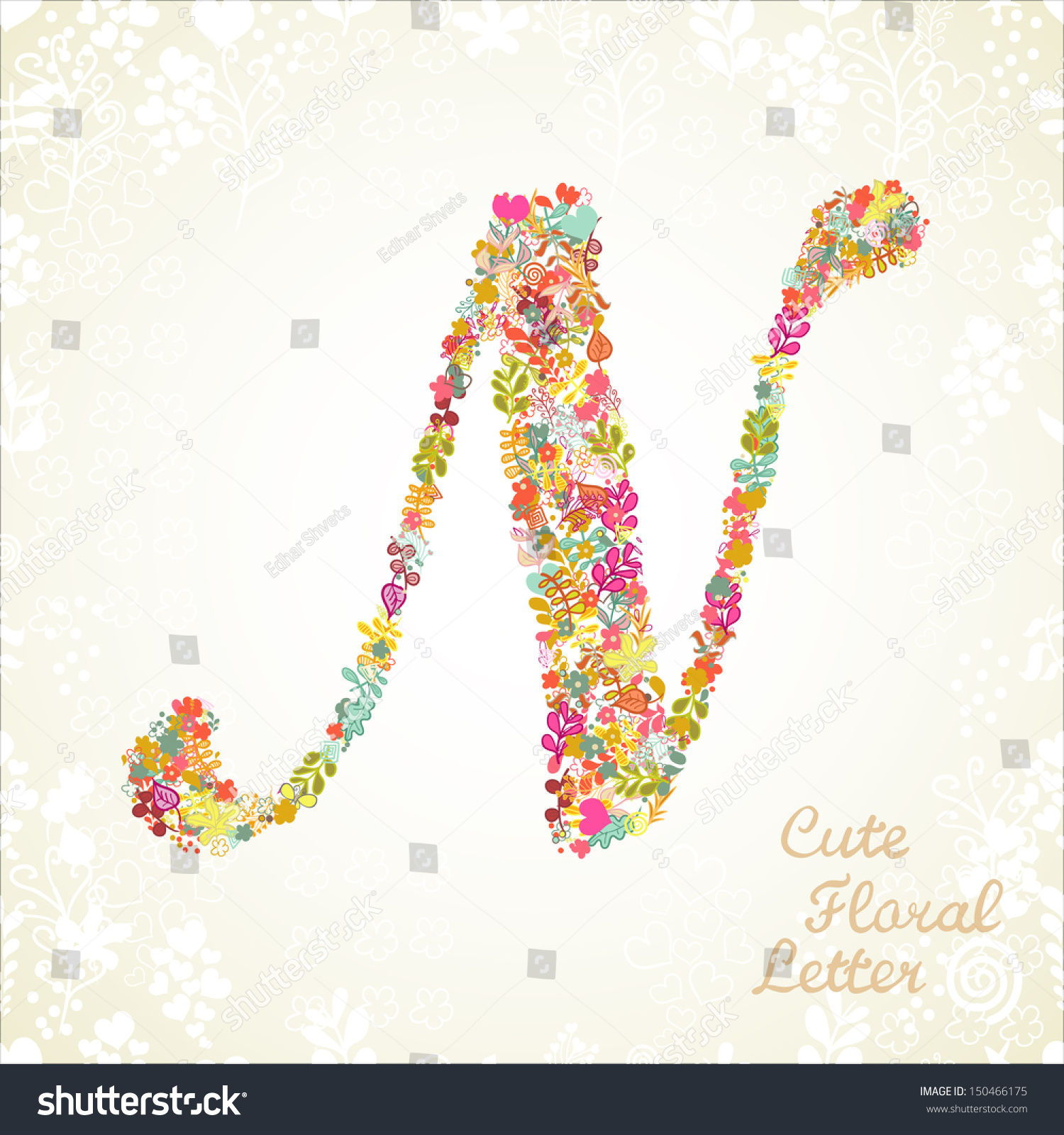 the letter n bright floral element of colorful alphabet made from flowers petals