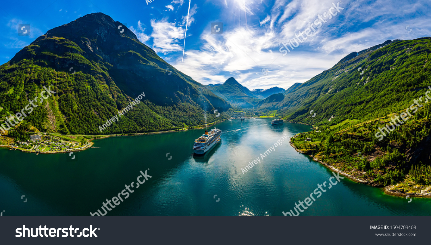 Geiranger fjord, Beautiful Nature Norway. The fjord is one of Norway's most visited tourist sites. Geiranger Fjord, a UNESCO World Heritage Site #1504703408