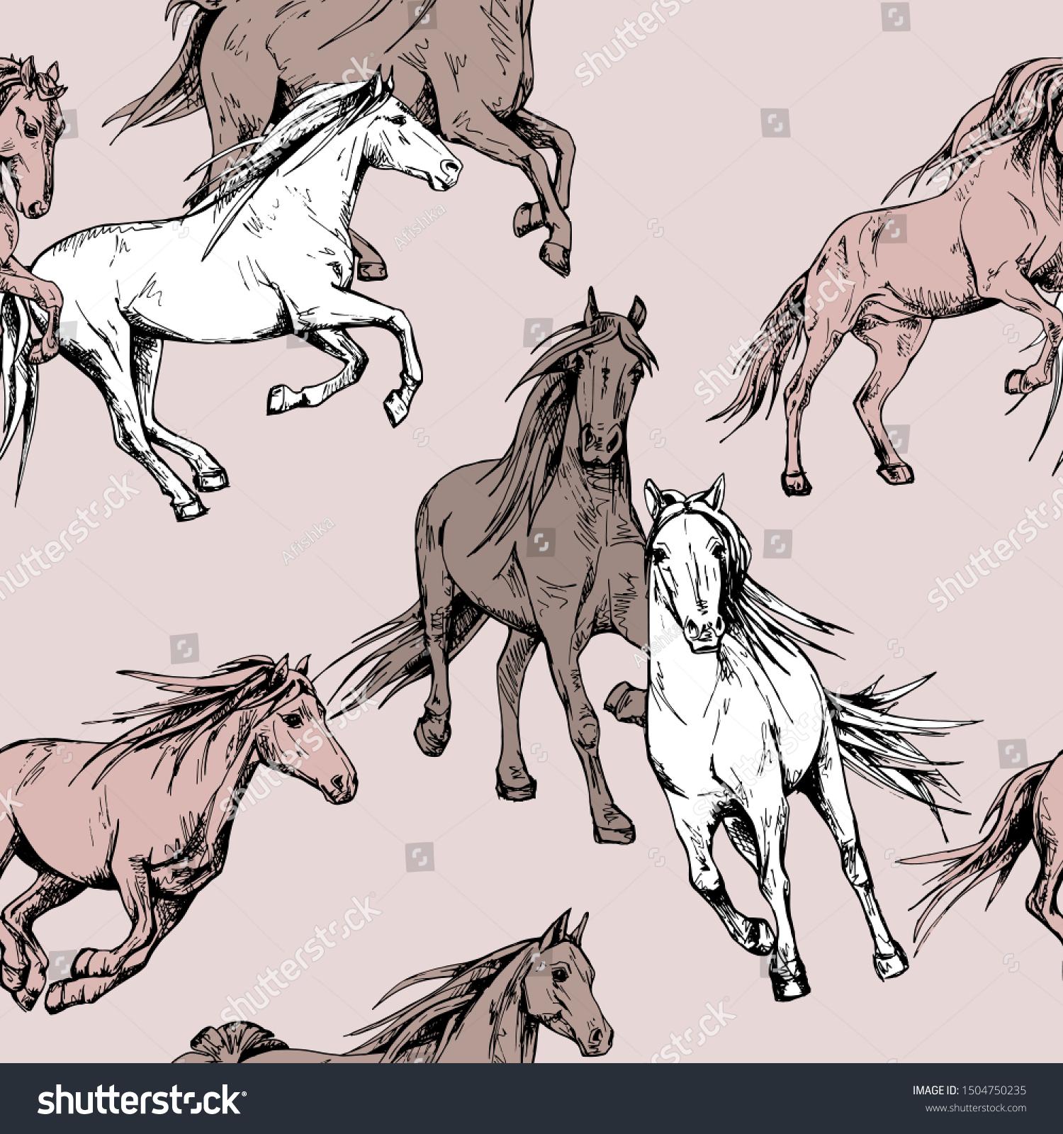 Seamless Wallpaper Pattern Running Beautiful Horses Stock Vector Royalty Free 1504750235