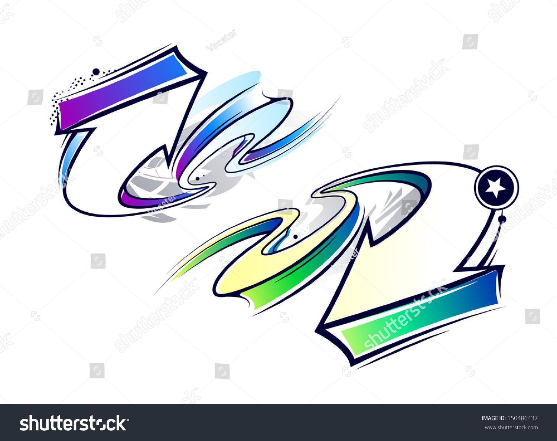 Two curve graffiti arrows vector illustration