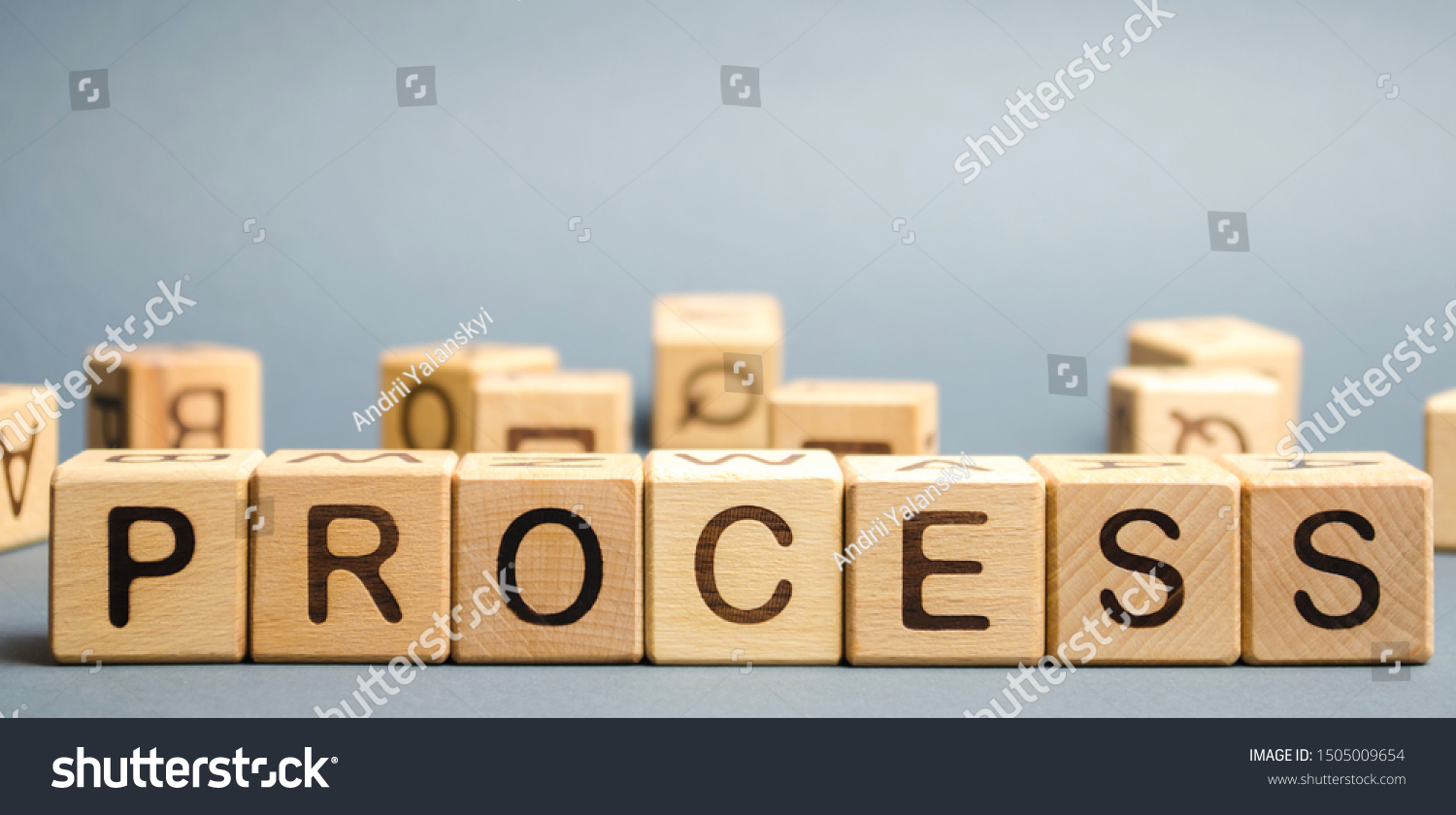Wooden blocks with the word Process. Business management concept. Litigation and technological processes. #1505009654