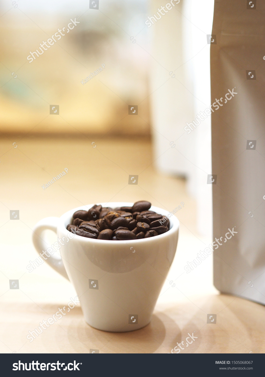Close Roasted Coffee Bean White Cup Food And Drink Stock Image 1505068067