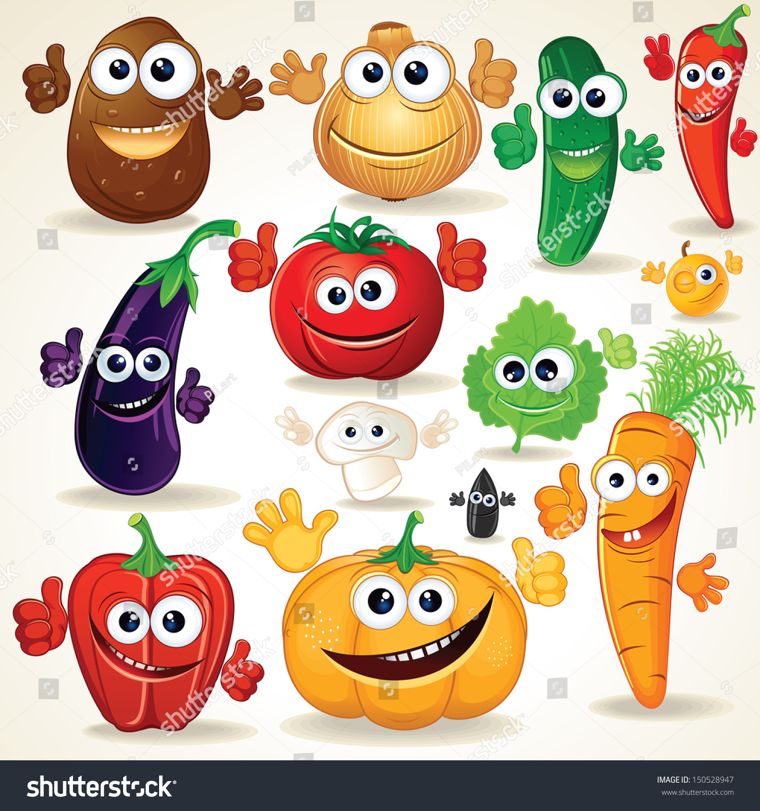Funny various cartoon vegetables vector clip stock vector for Interesting art pictures