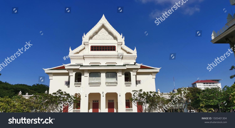 BANGKOK, THAILAND - SEPTEMBER 16, 2019: View of the Auditorium building lit by morning sun at Chulalongkorn University on September 16, 2019 in Thai capital Bangkok.