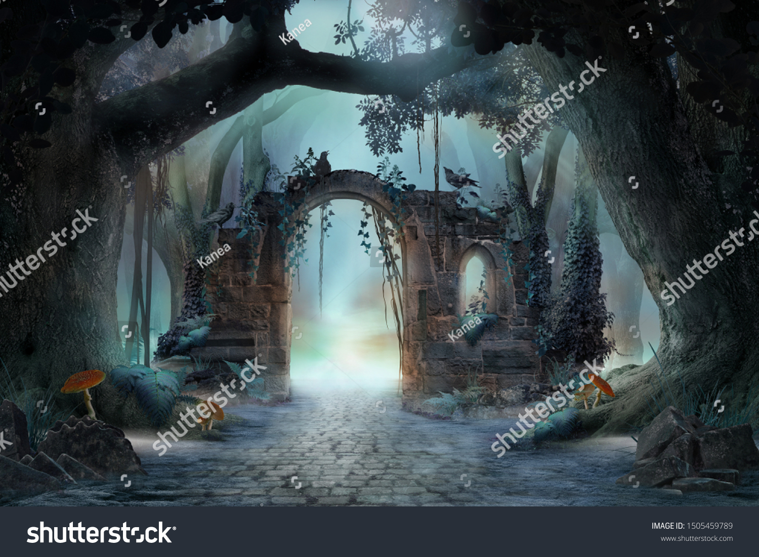 Archway in an enchanted fairy forest landscape, misty dark mood, can be used as background #1505459789