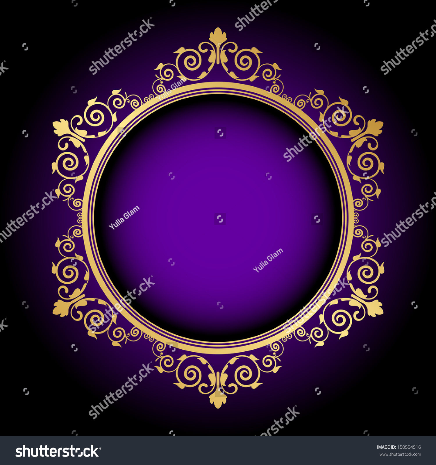 Vector Gold Floral Frame On Purple Stock Vector 150554516 - Shutterstock