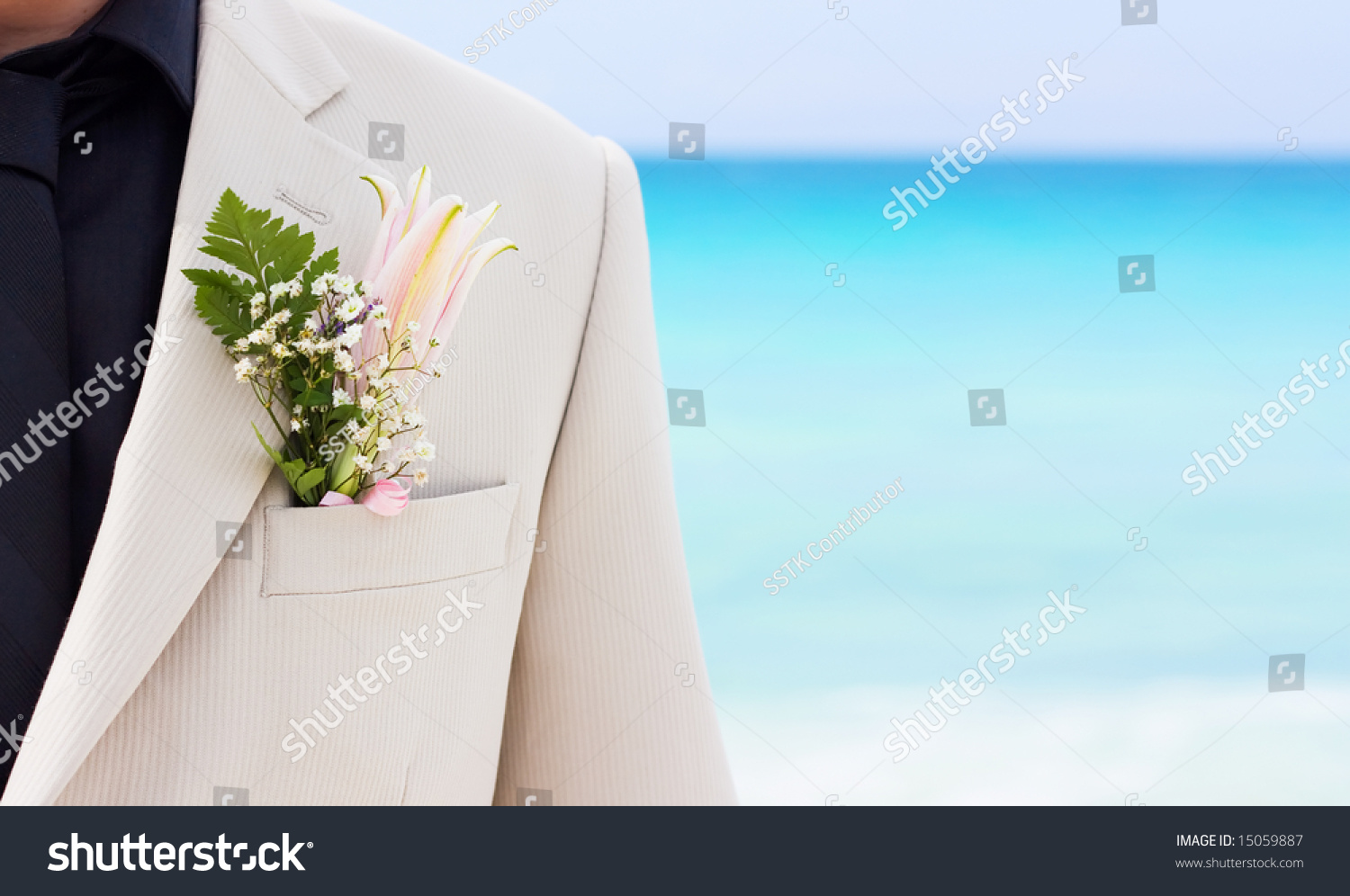 Grooms Wedding Suit Boutonniere Made Flower Stock Photo (100% Legal ...