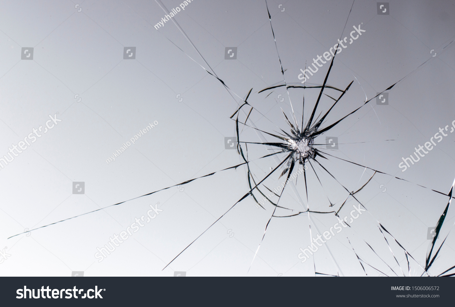 Cracked glass on a white background texture #1506006572