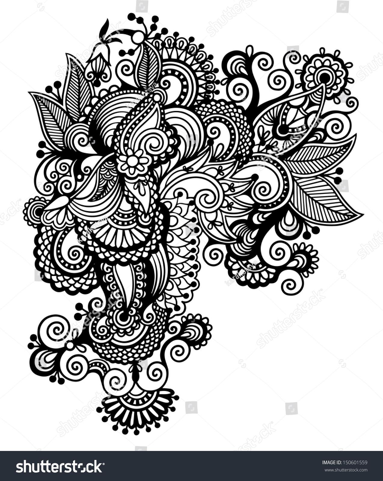 Line Art Ornate Flower Design : Black line art ornate flower design stock vector