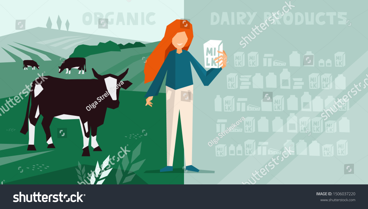 Countryside Scene Cow Pasture Livestock Dairy Stock Vector Royalty Free 1506037220