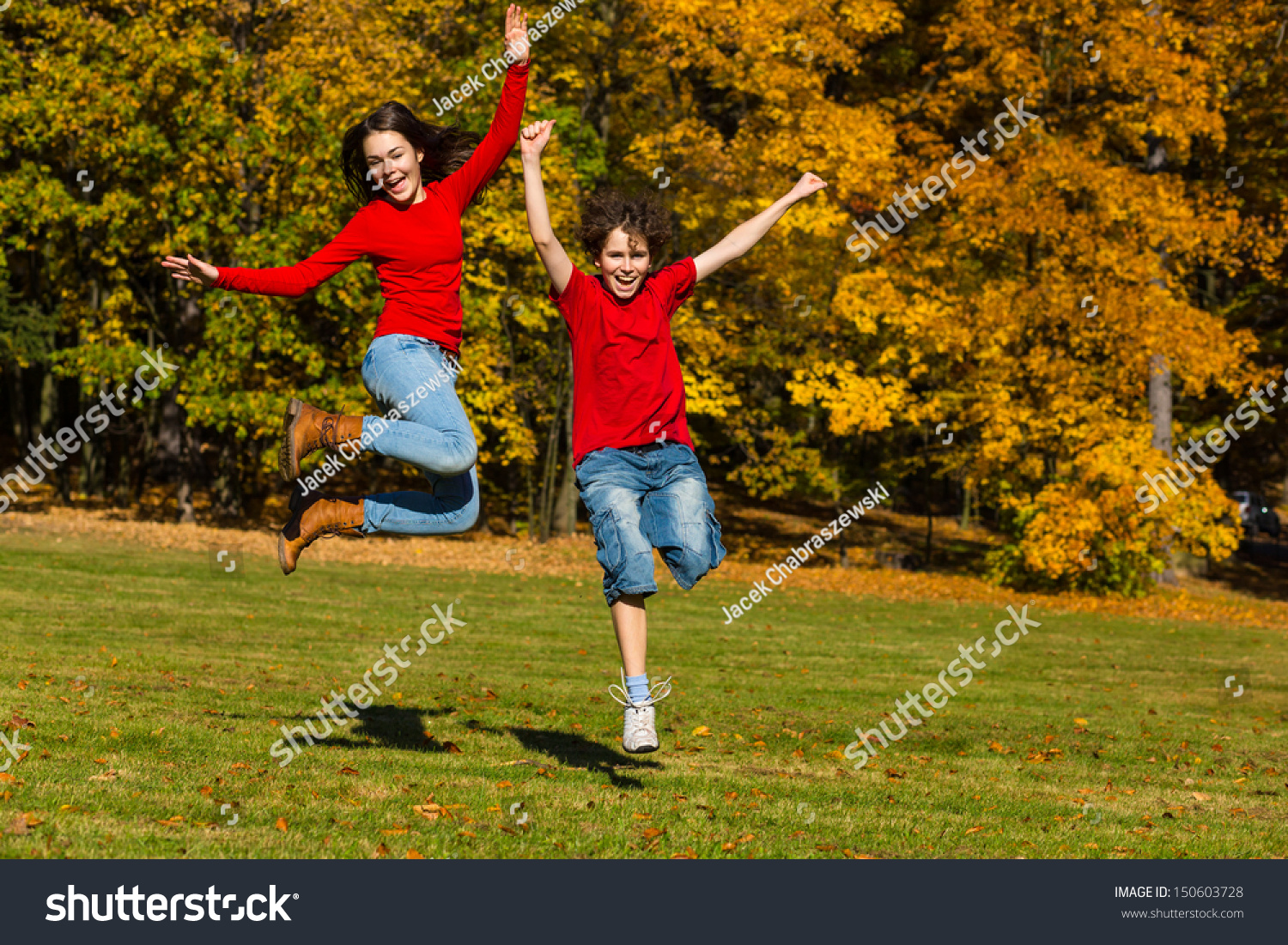 Healthy Lifestyle Girl Boy Running Jumping Stock Photo -2814