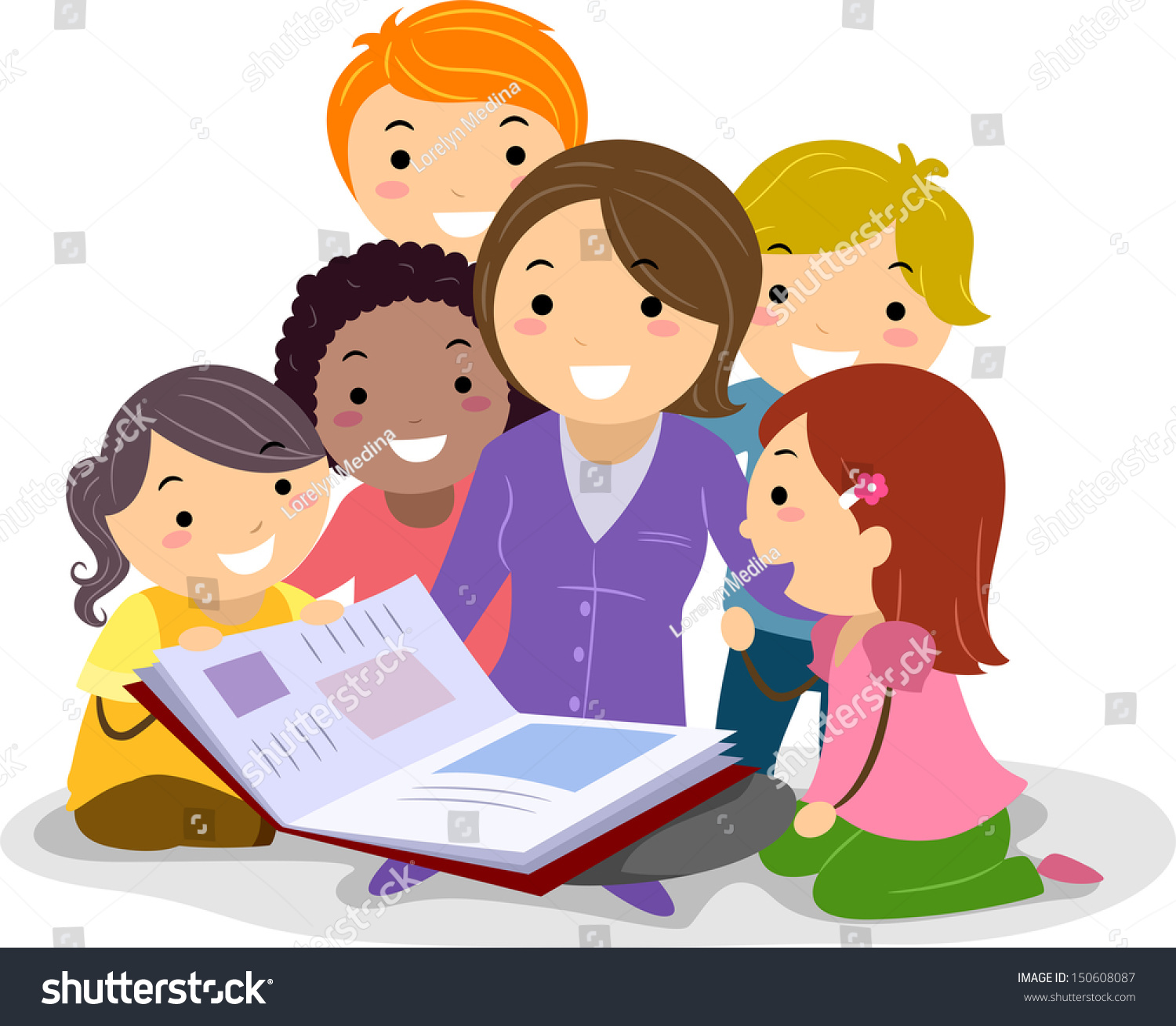 Stickman Illustration Featuring Kids Huddled Together Stock Vector 150608087