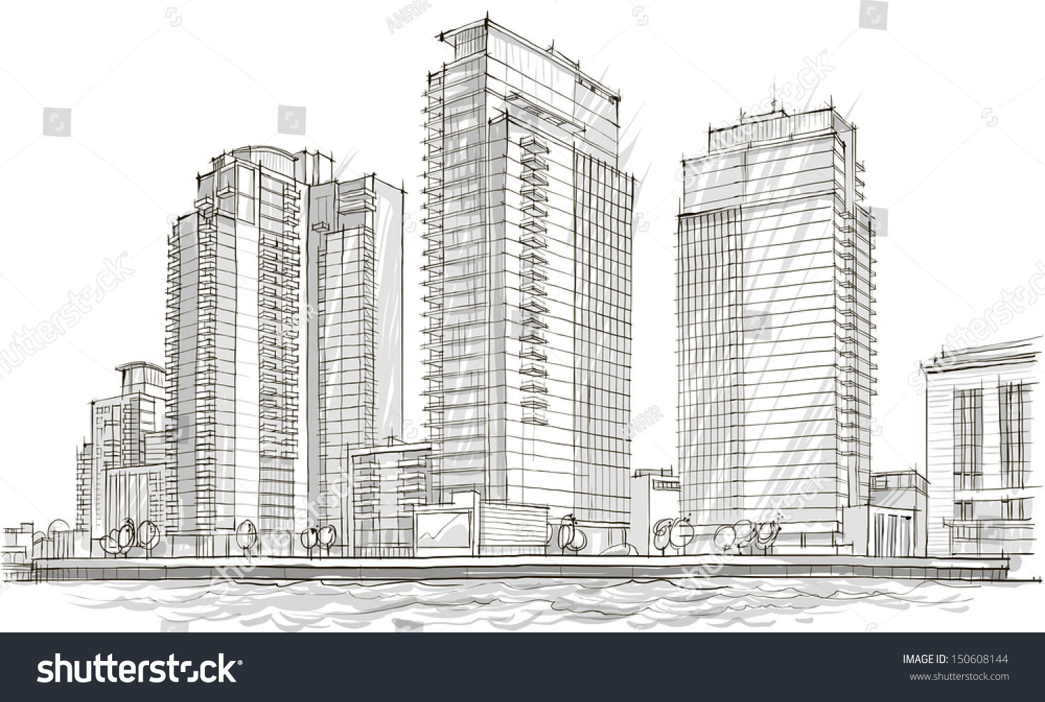 architectural sketch idea drawing city stock vector