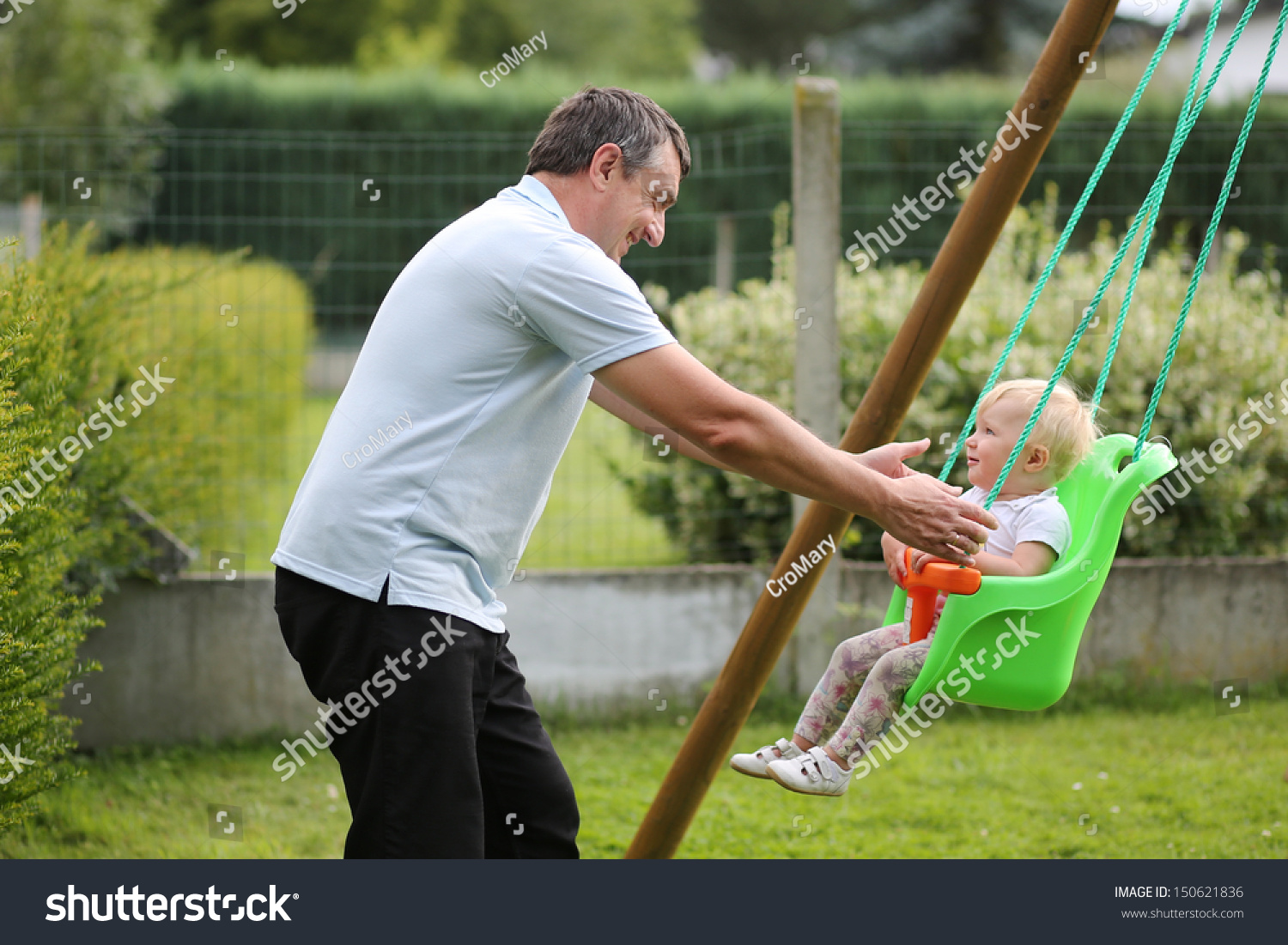 happy father his cute baby daughter stock photo 150621836