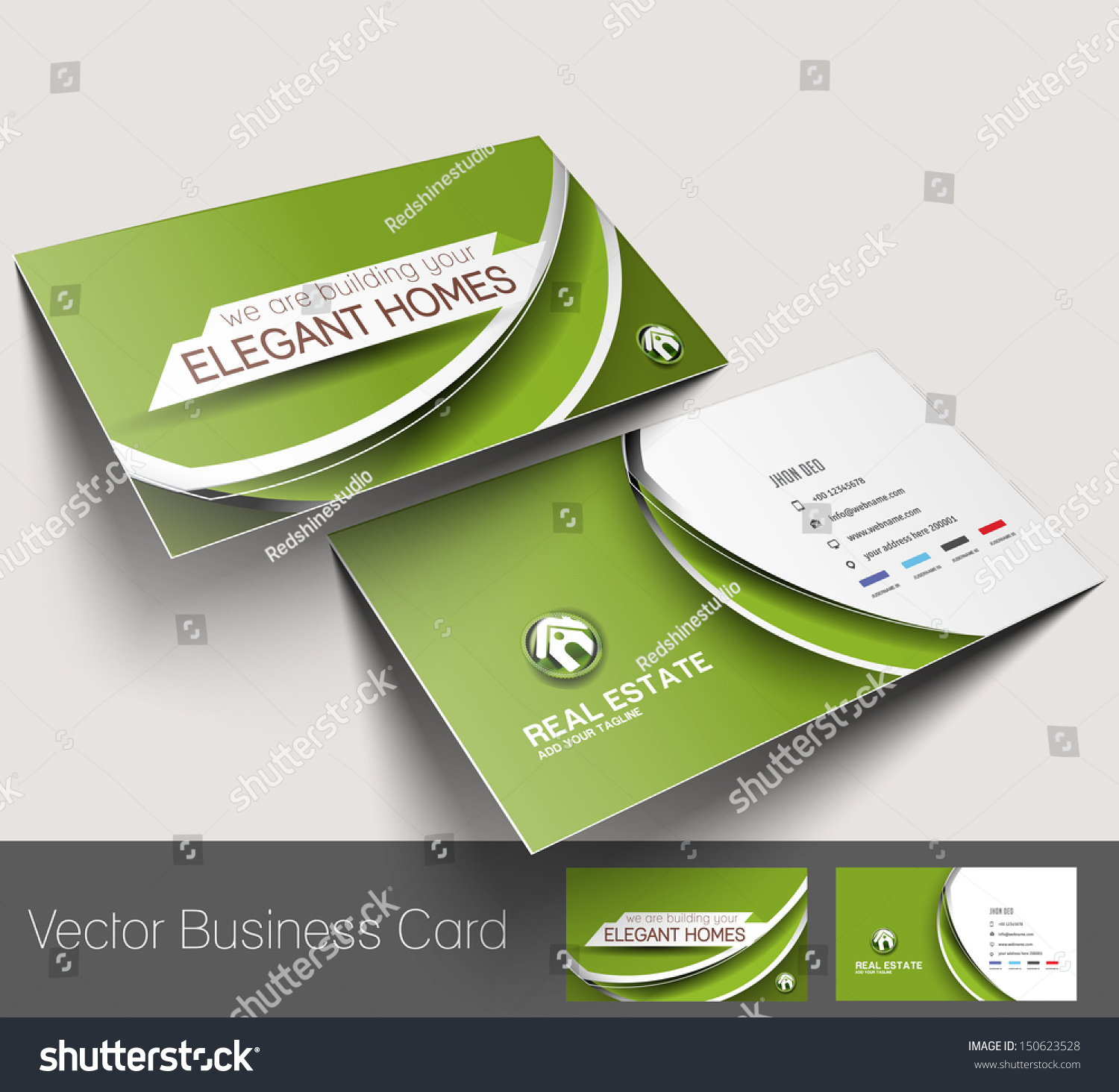 real estate agent business card set stock vector