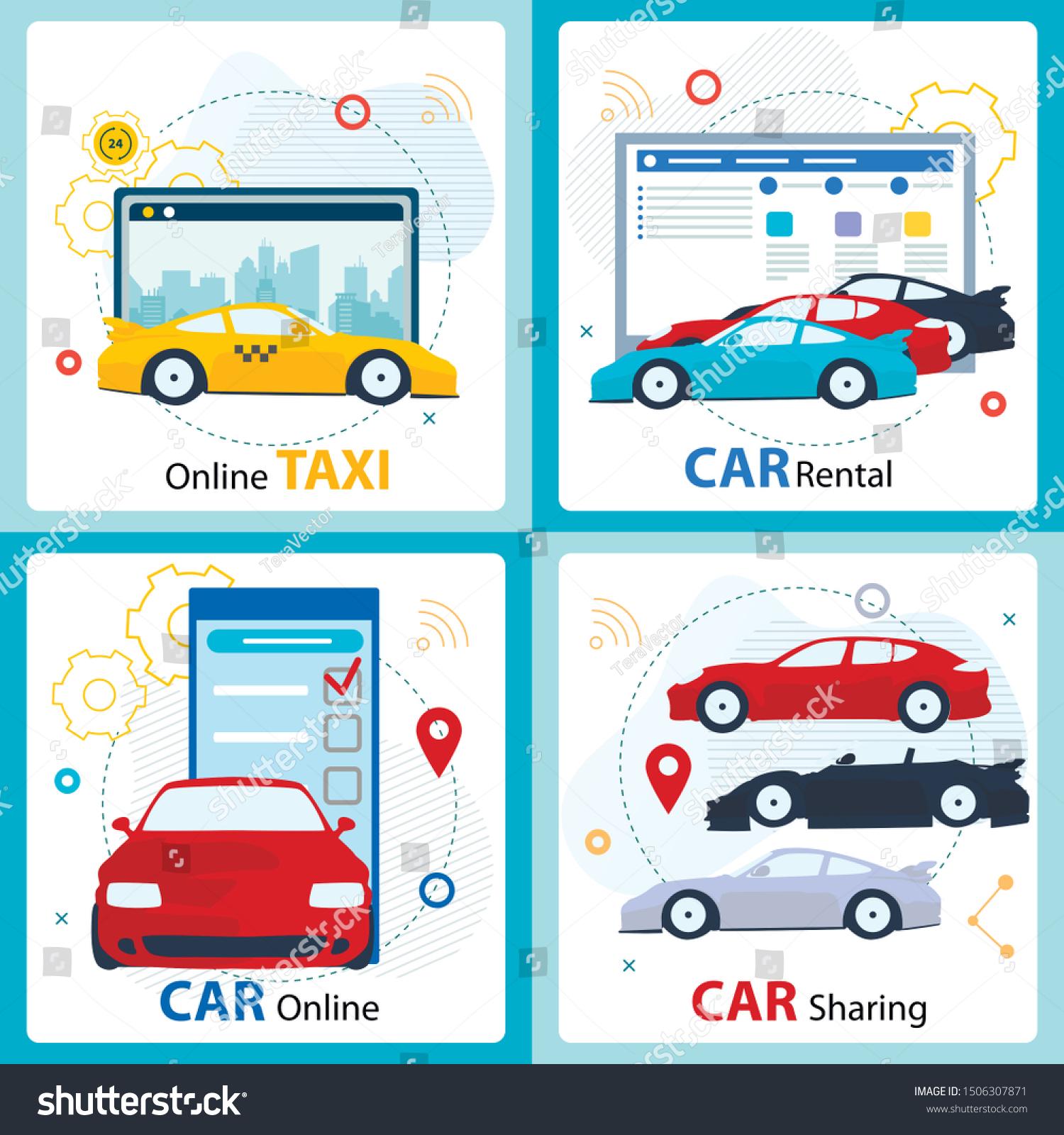 Car Sharing Rental Service Advertising Cartoon Stock Vector Royalty Free 1506307871