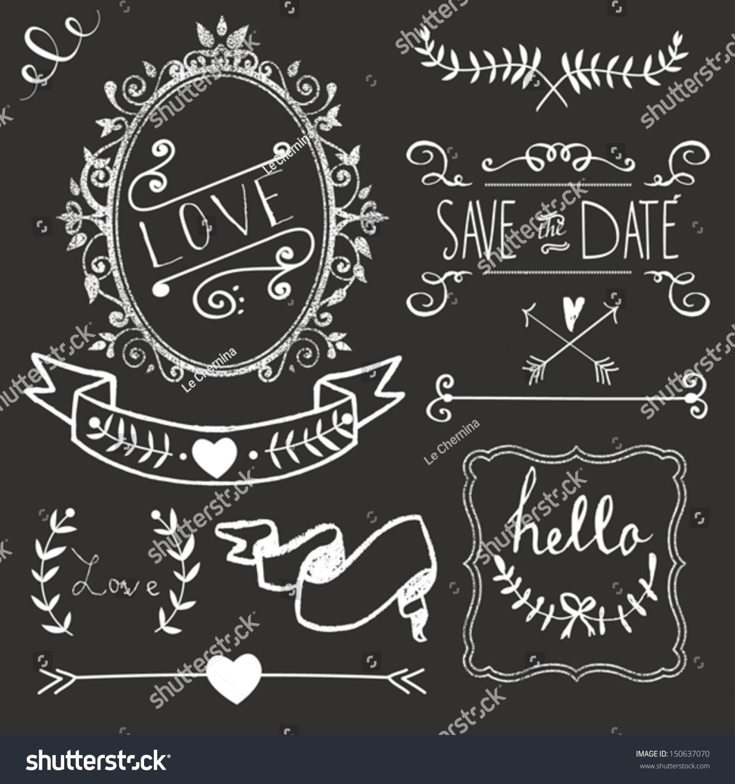 Chalkboard Wedding graphic set, borders, arrows, hearts, laurel ...