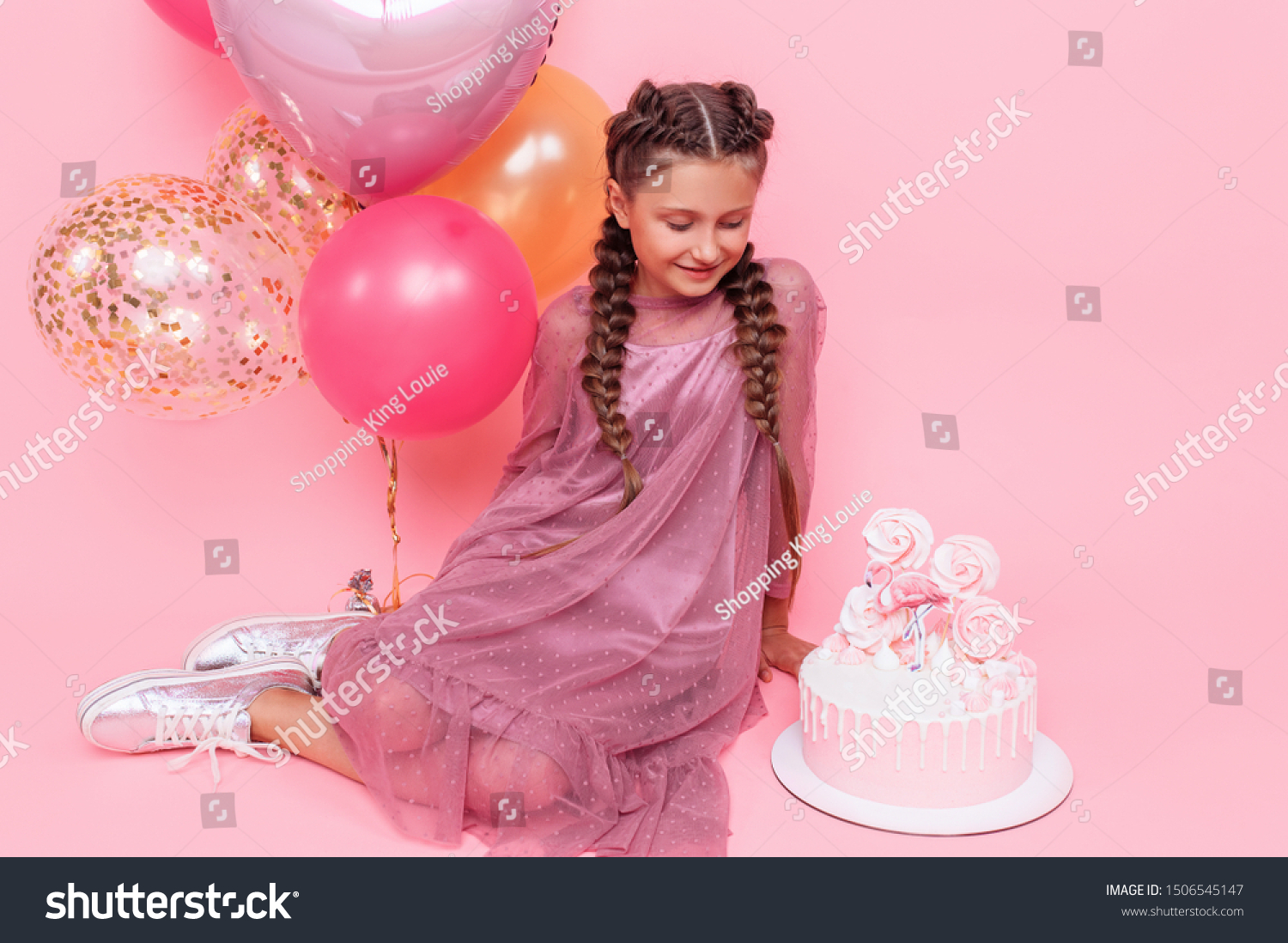 Pleasant Teenage Girl Balloons Birthday Cake Posing Stock Photo Edit Now Birthday Cards Printable Opercafe Filternl