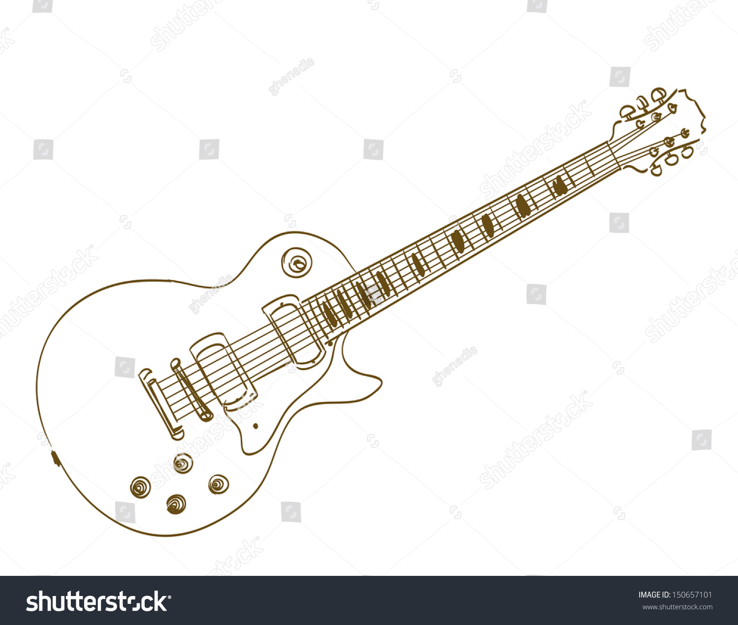 Hand Drawn Electric Guitar On White Stock Vector 150657101