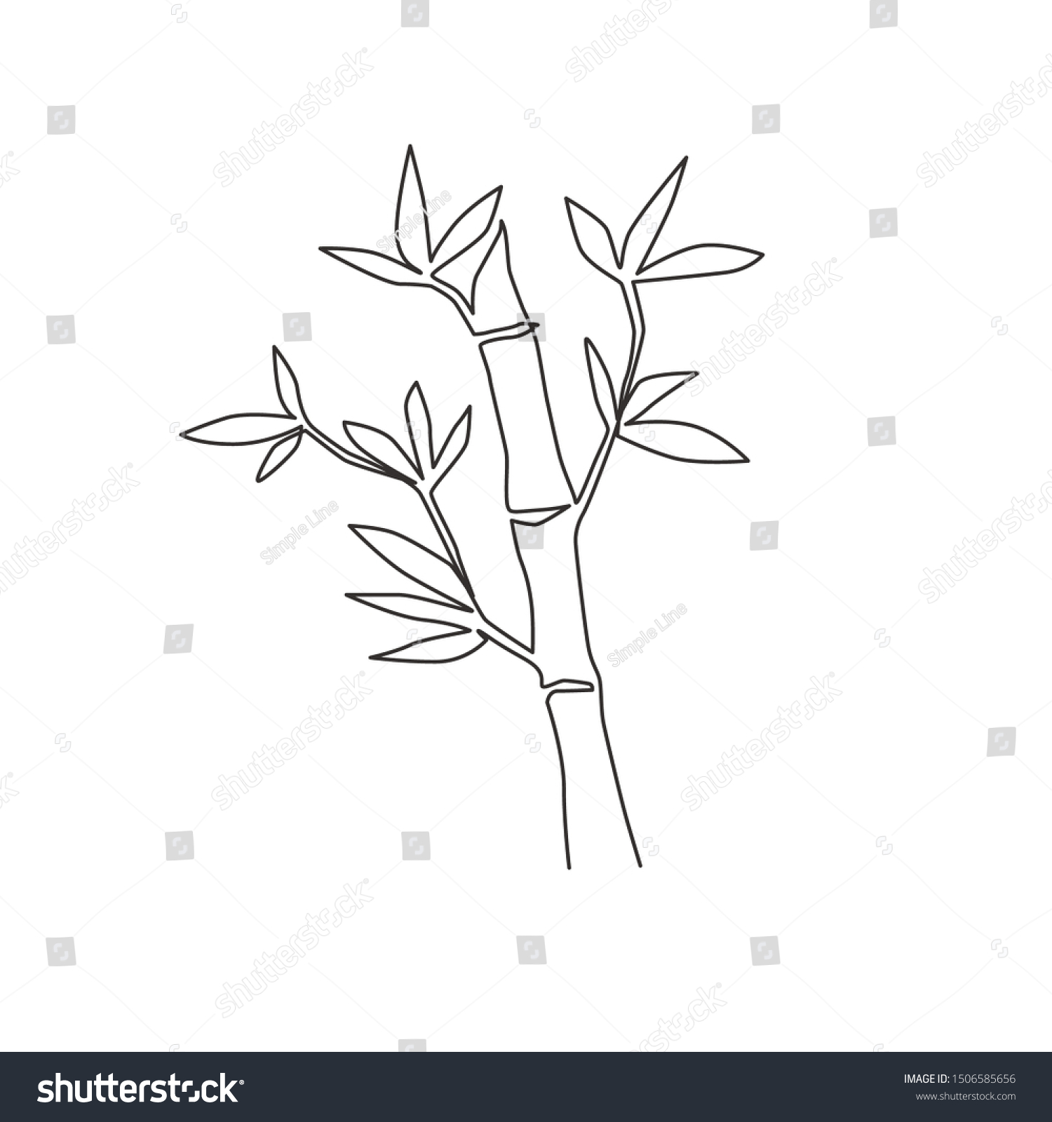 One Single Line Drawing Bamboo Trees Stock Vector Royalty Free 1506585656