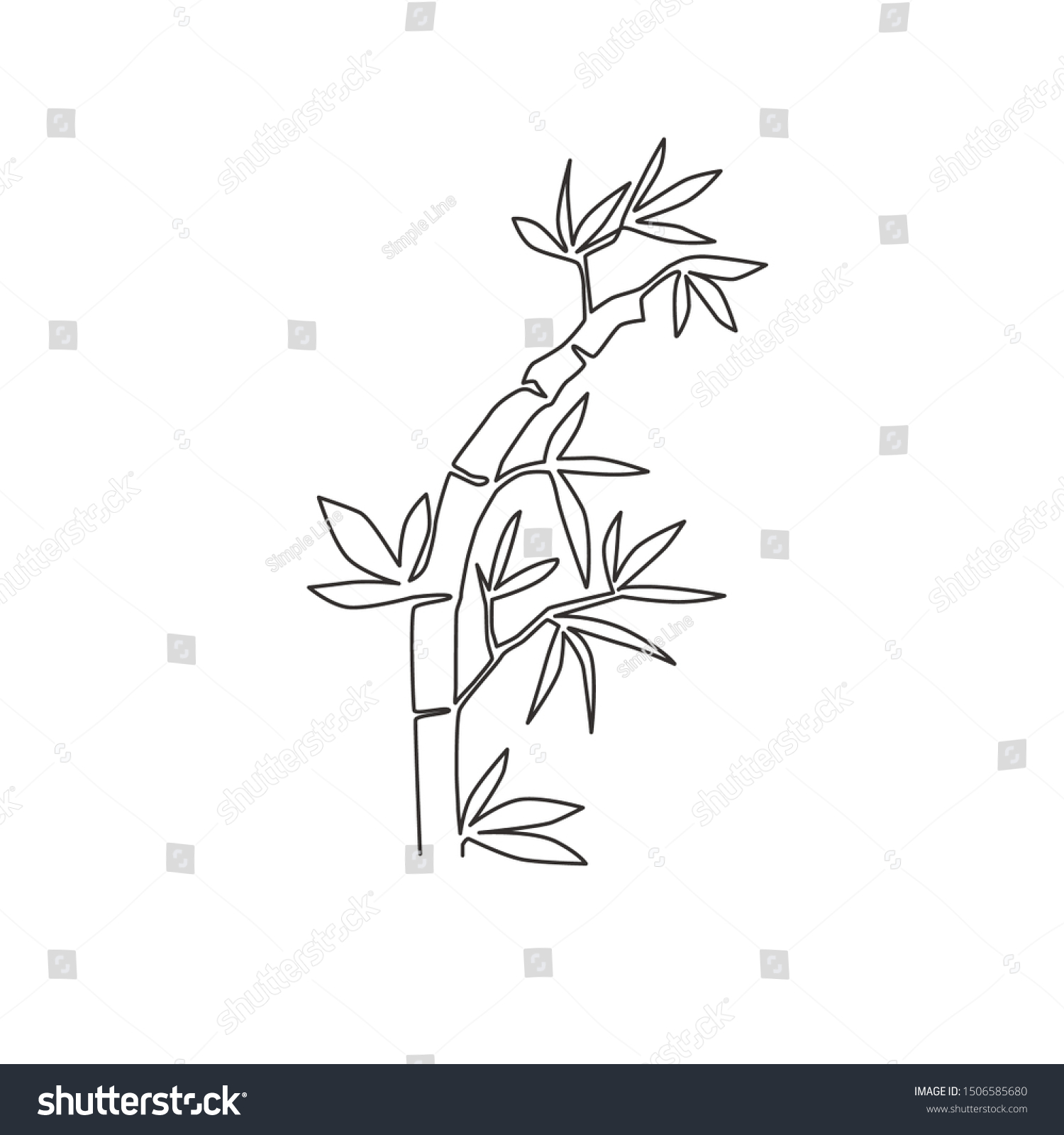 One Single Line Drawing Bamboo Trees Stock Vector Royalty Free 1506585680