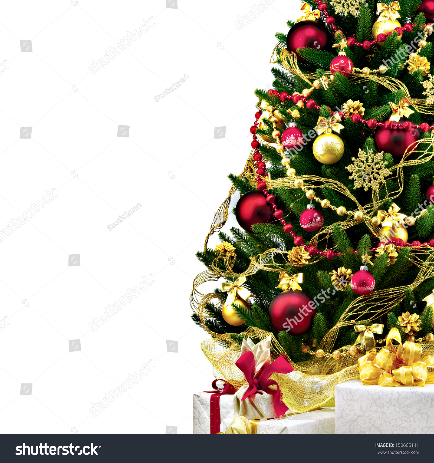 Decorated Christmas Tree On White Background Stock Photo (Edit Now ...