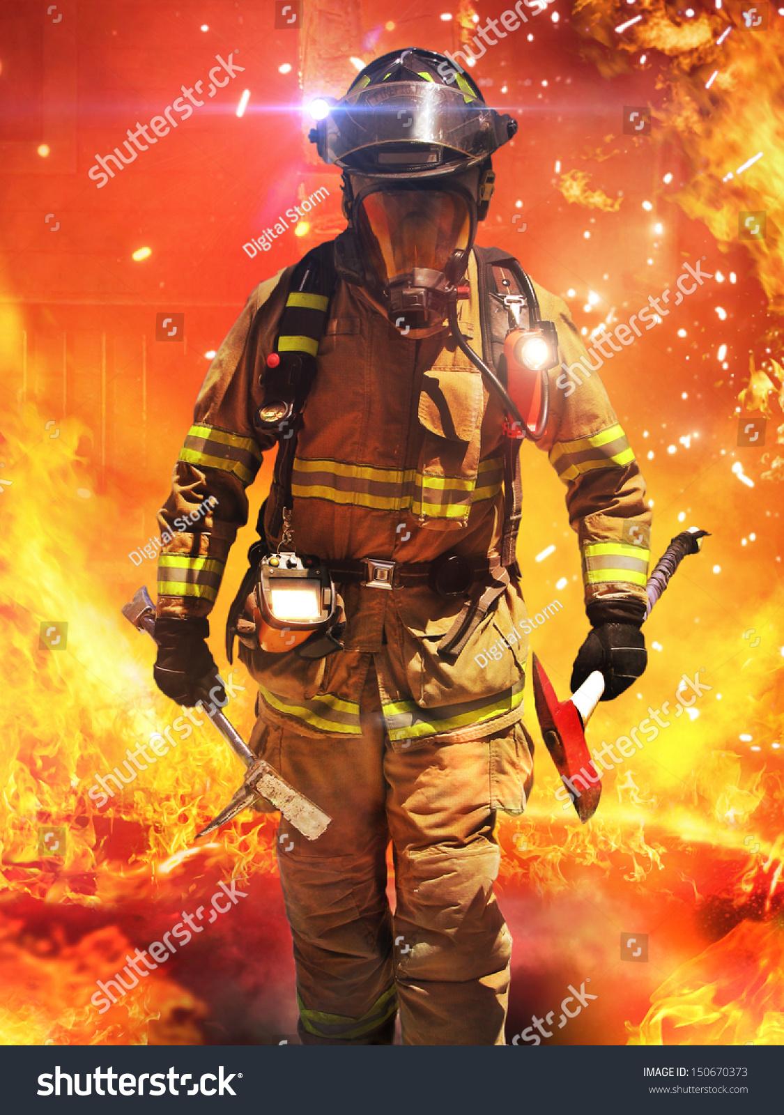 firefighters in fire