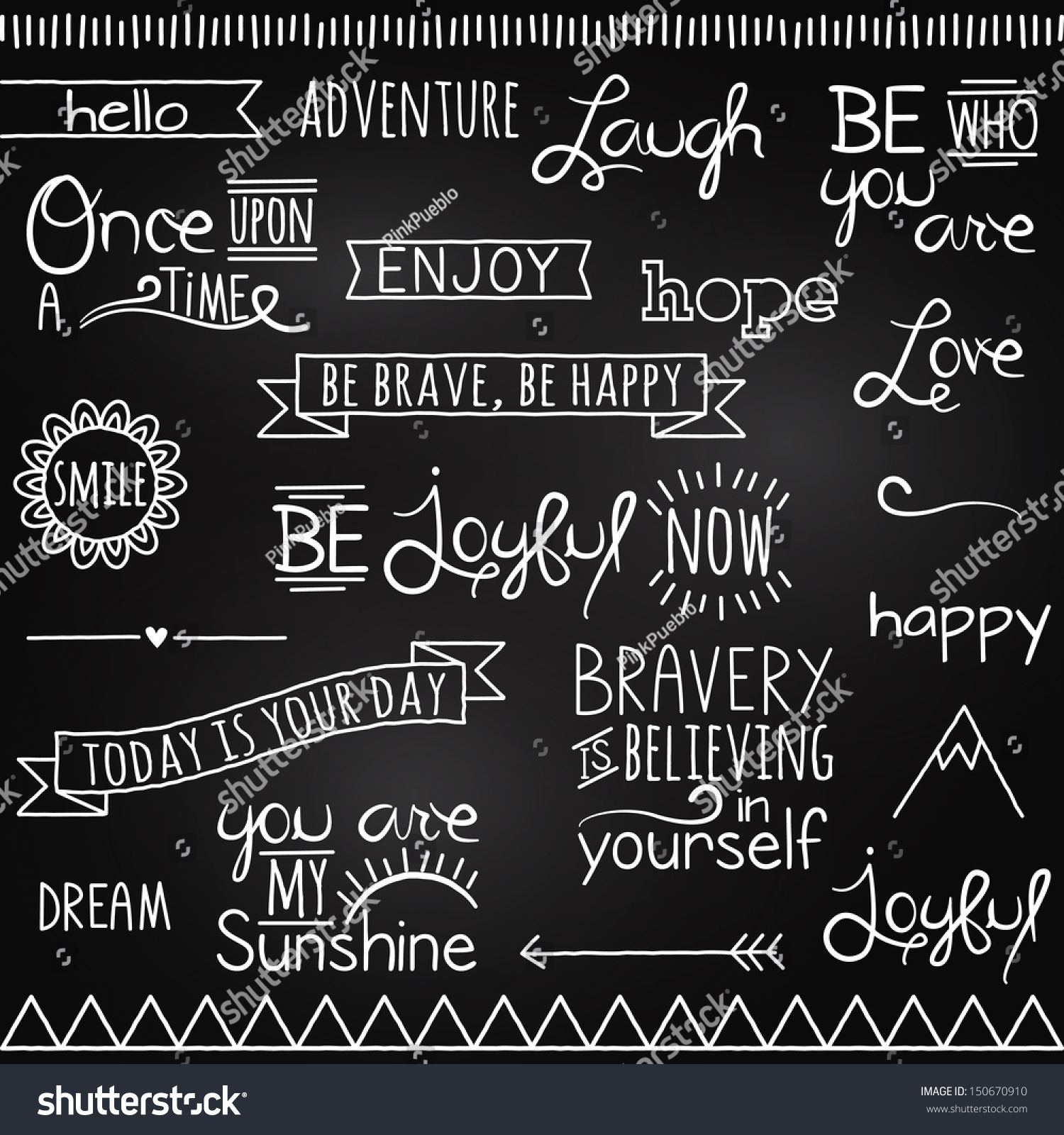 Hand drawn chalkboard style words quotes stock vector for Decoration quotes sayings