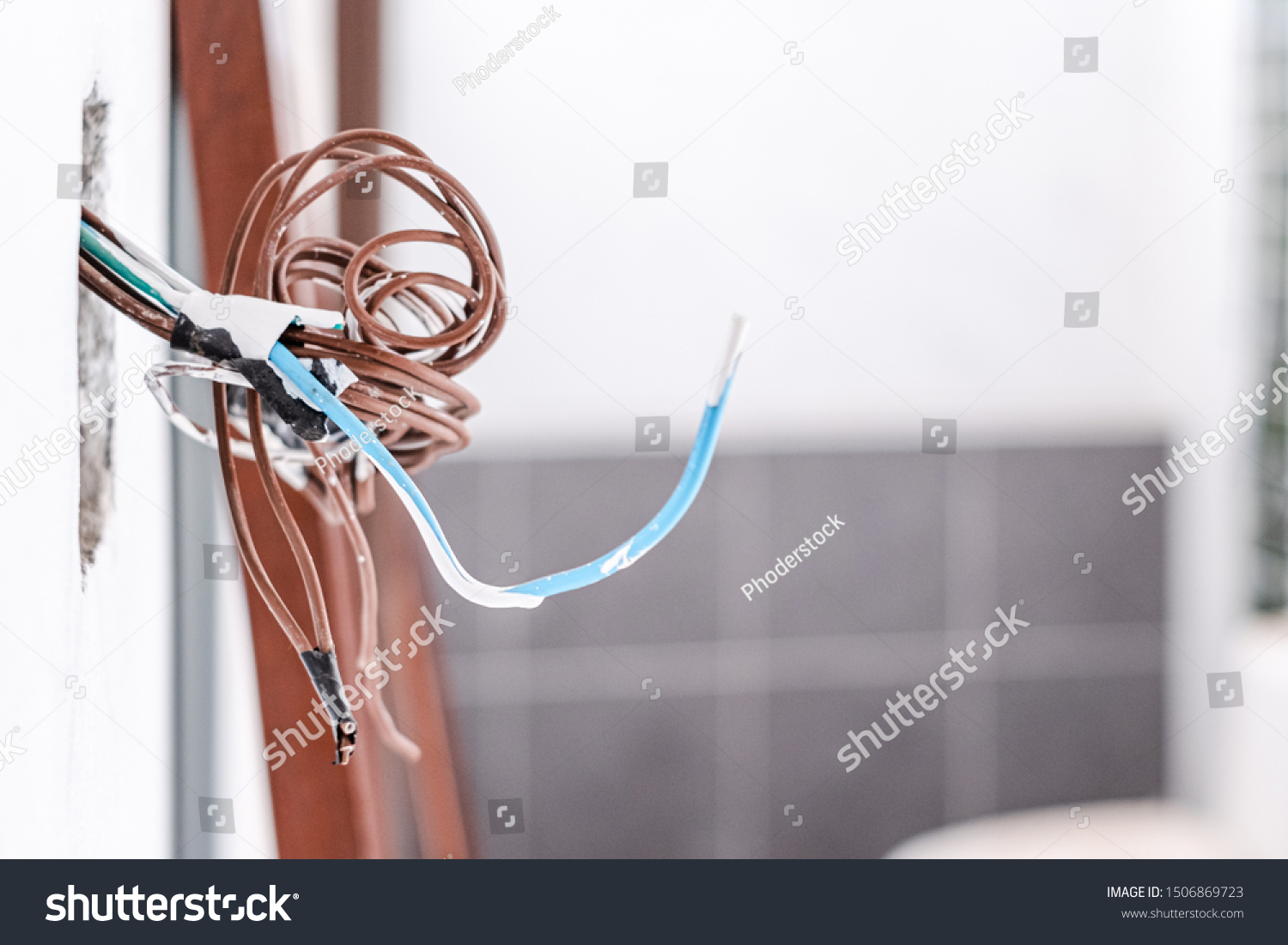 Unfinished Installation Electrical Wiring Mains Outlet Technology Stock Image 1506869723