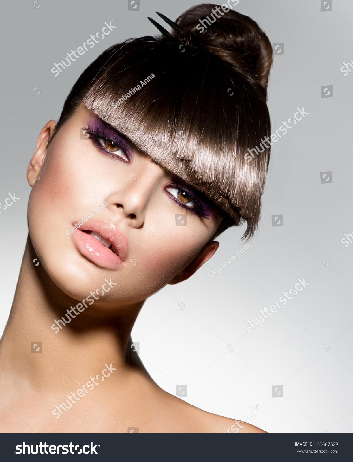 Fringe Fashion Model Girl Trendy Hairstyle Stock Photo Edit Now