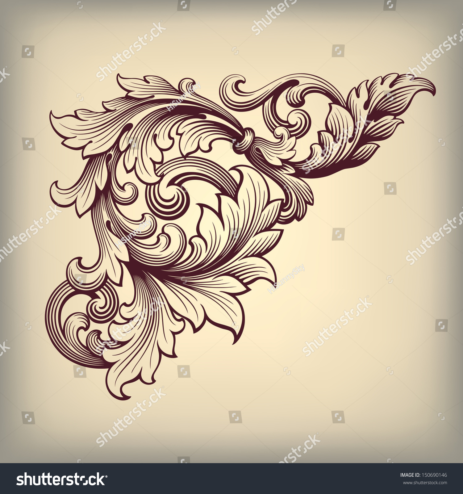 Antique Scroll Design: Vector Vintage Baroque Scroll Design Frame Stock Vector