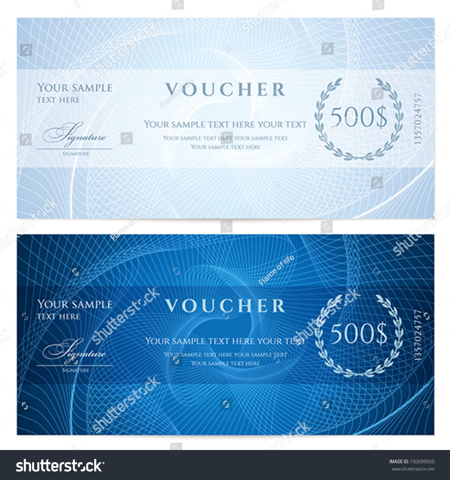 Gift certificate voucher coupon template blue stock vector 150699050 gift certificate voucher coupon template with blue guilloche pattern watermark dark yadclub Image collections