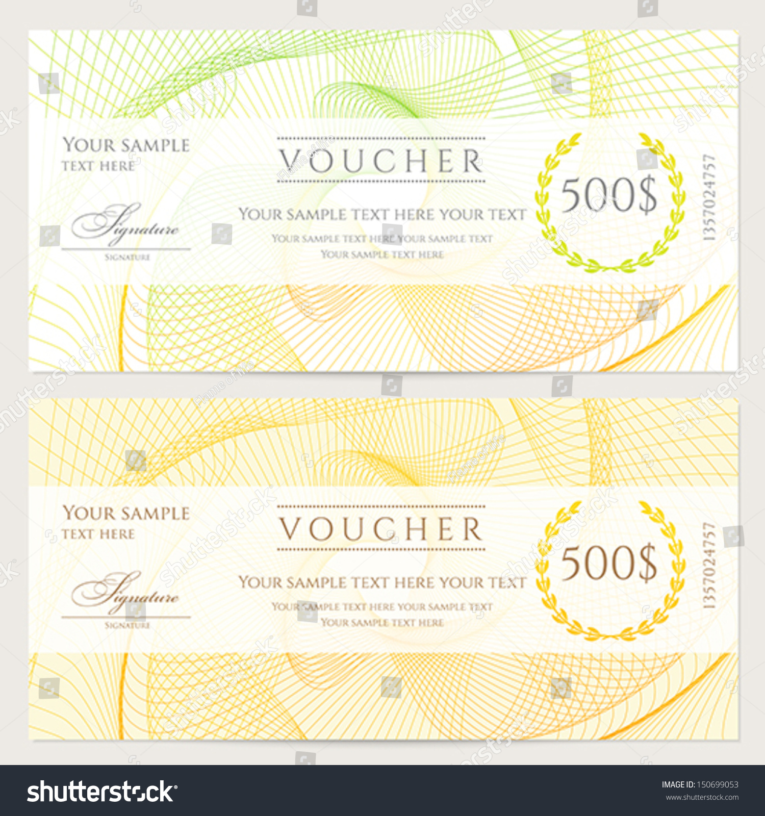 gift certificate voucher coupon template colorful stock vector gift certificate voucher coupon template colorful rainbow guilloche pattern watermark