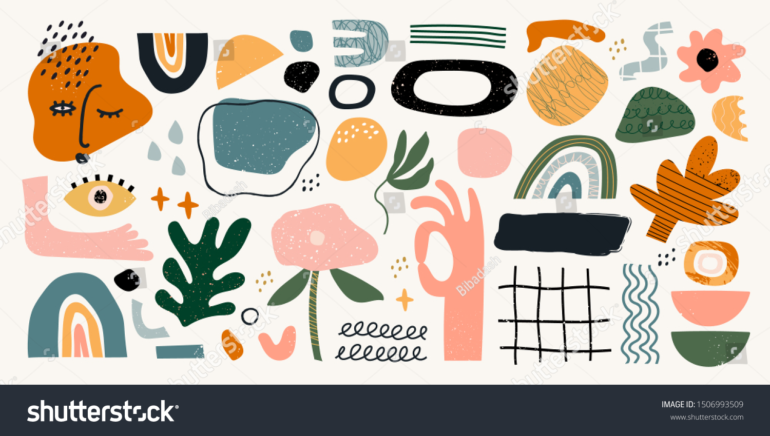Big set of hand drawn various shapes and doodle objects. Abstract contemporary modern trendy vector illustration. All elements are isolated #1506993509