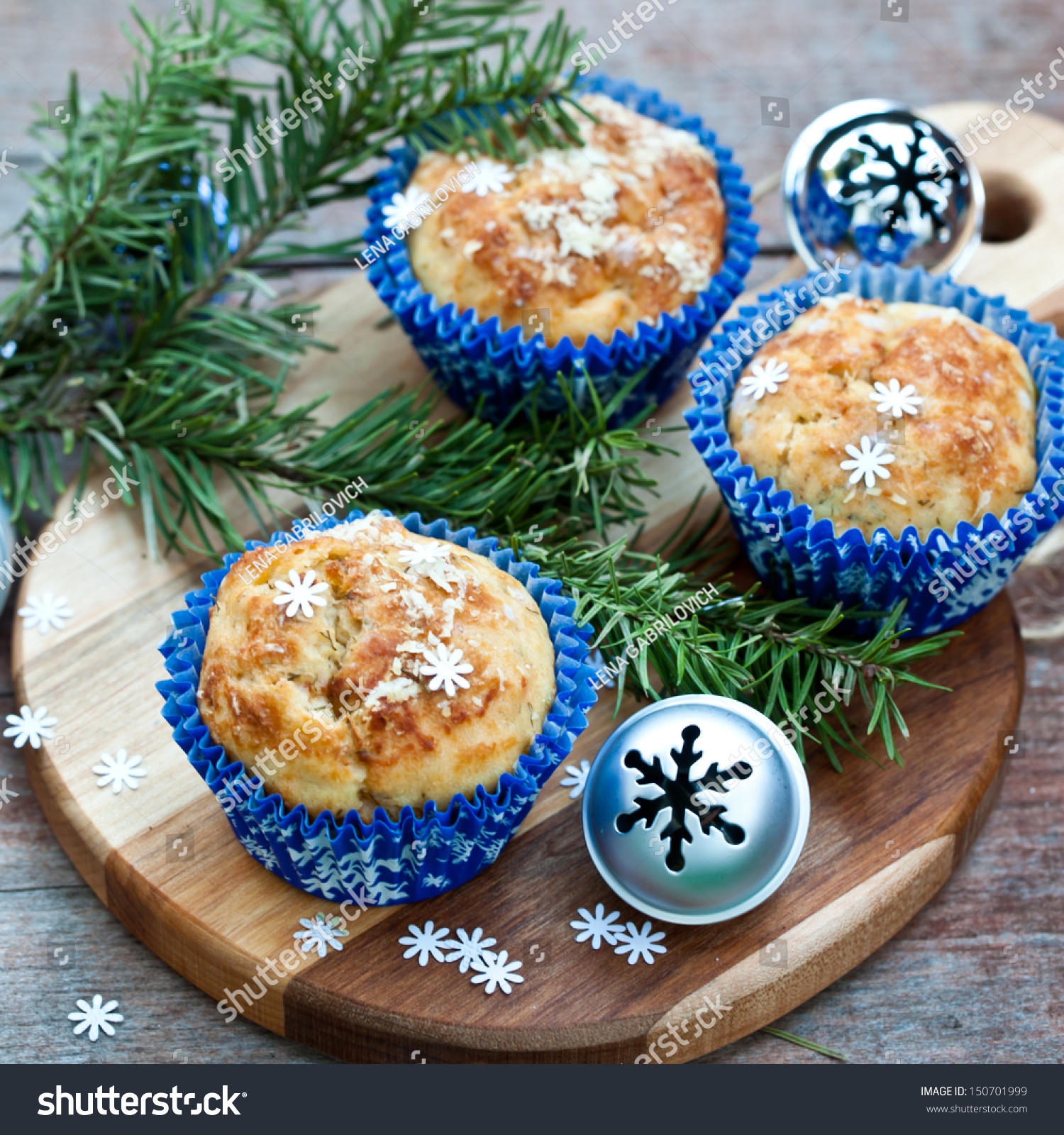 Christmas Tree Muffins: Muffins With Blue Snowflakes Cup With Christmas Tree And