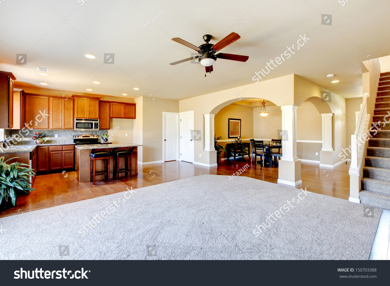 new home kitchen interior large empty stock photo