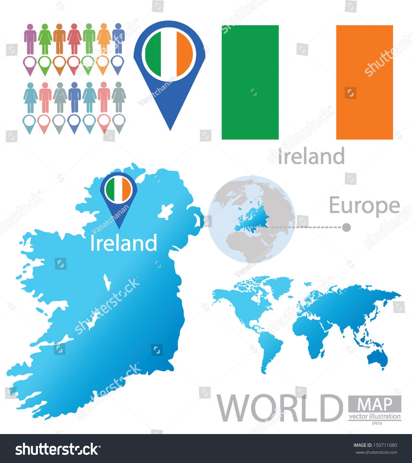 republic ireland flag world map vector stock vector 150711080