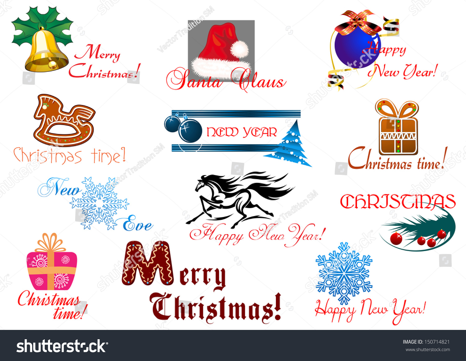 christmas and new year holiday elements with headlines bitmap jpeg version also available