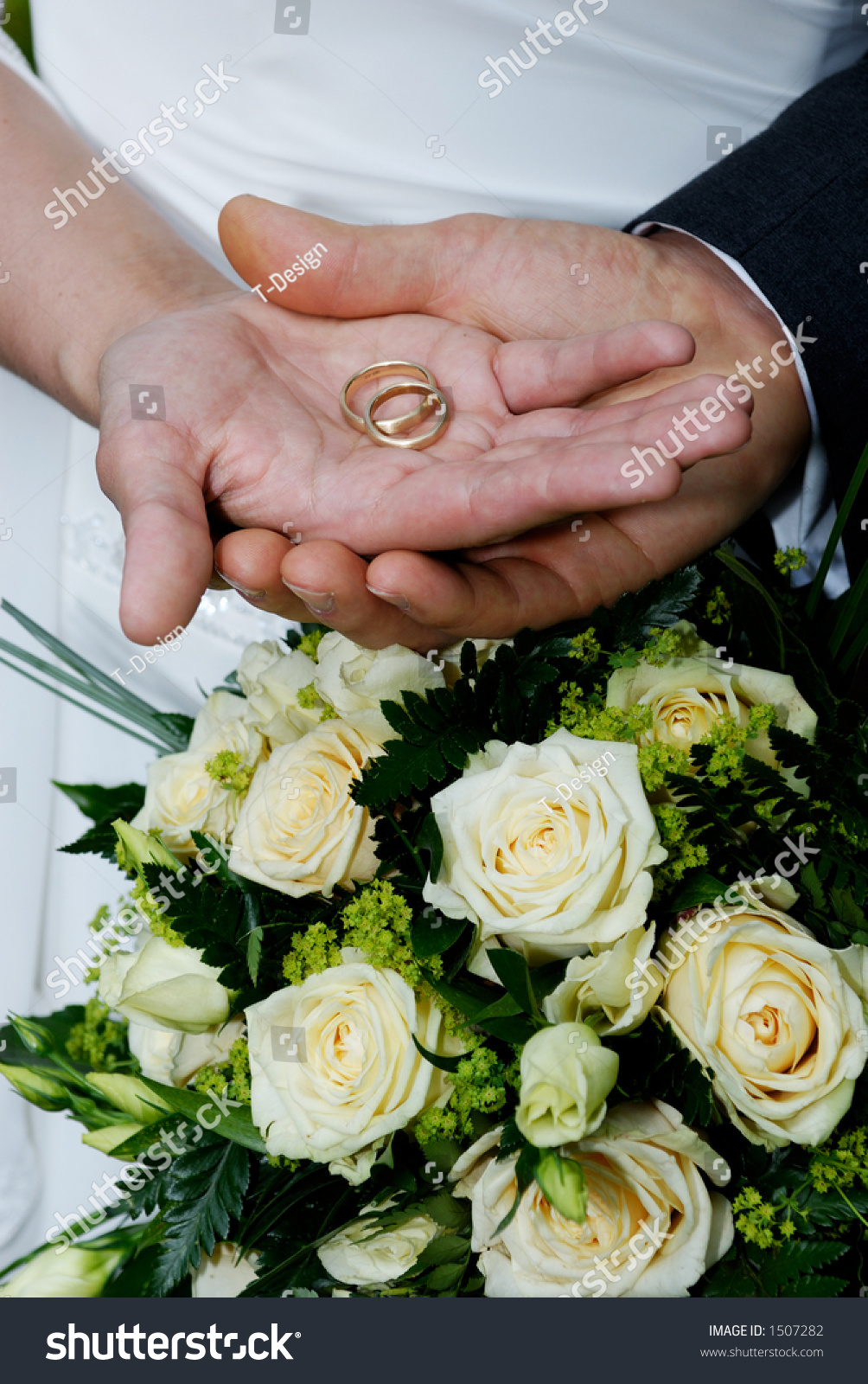 wedding two hands with ring stock photo 1507282