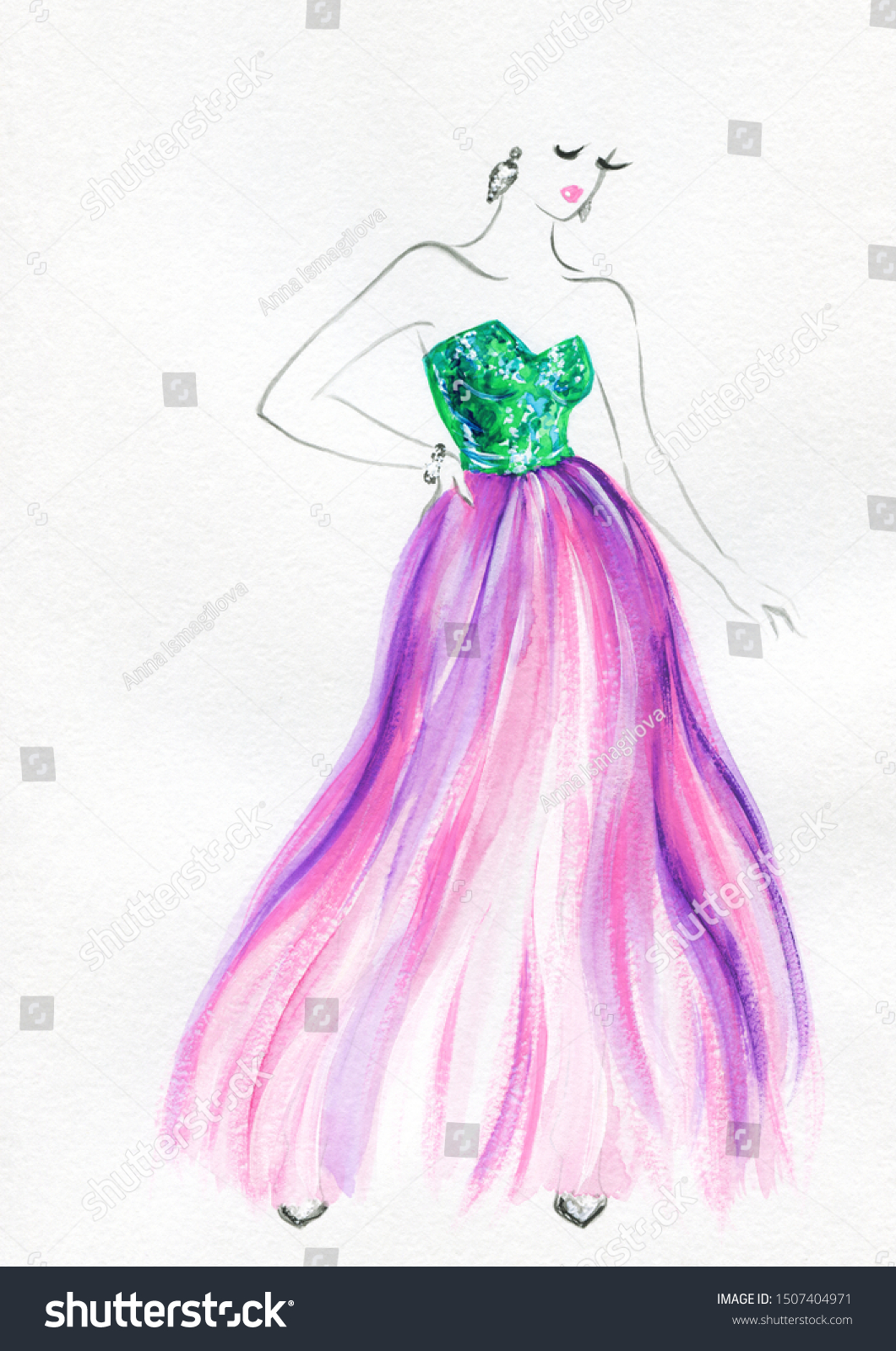 Fashion Illustration Watercolor Painting Fashion Designer Stock Illustration 1507404971