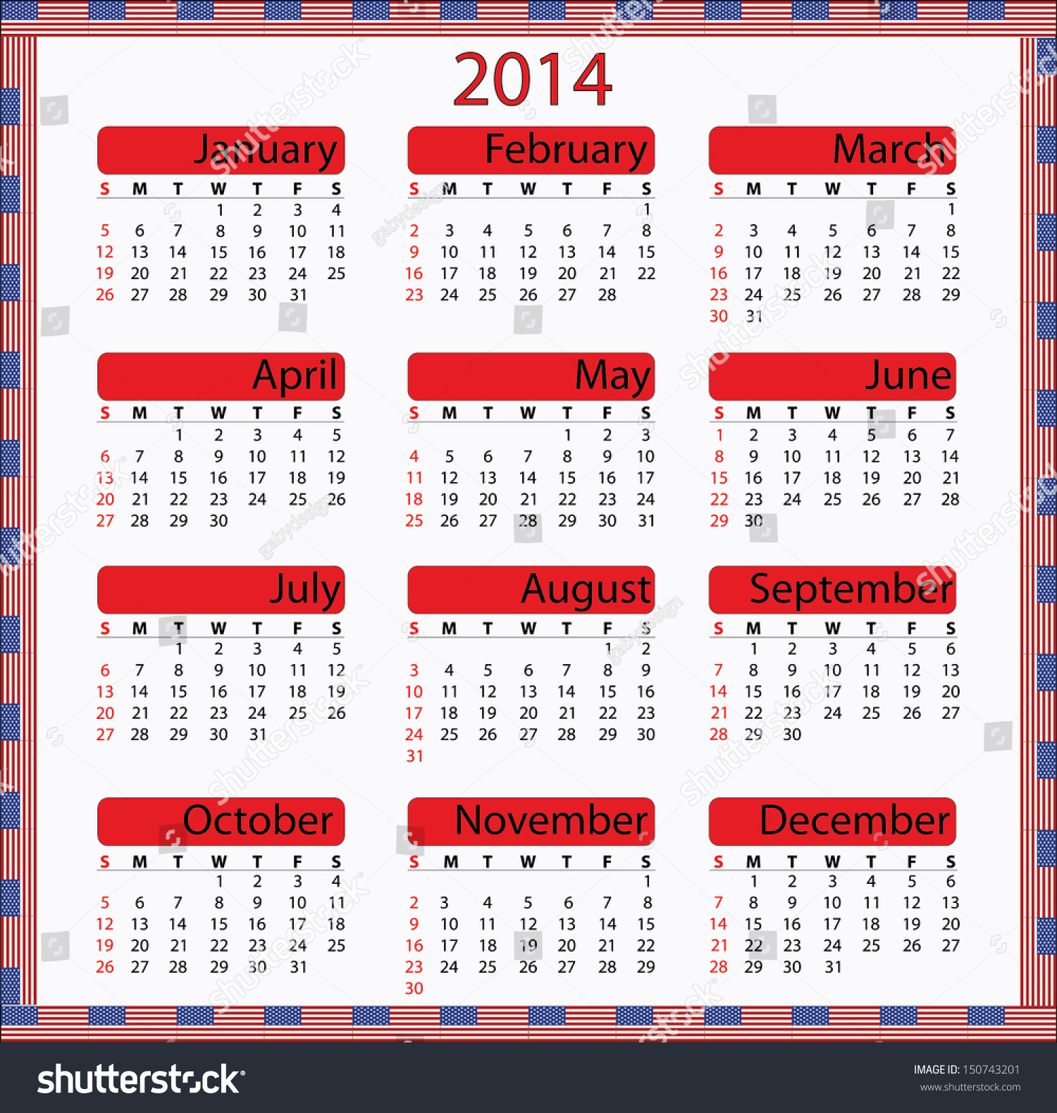 Monthly Calendar Usa : Usa flag calendar abstract vector illustration