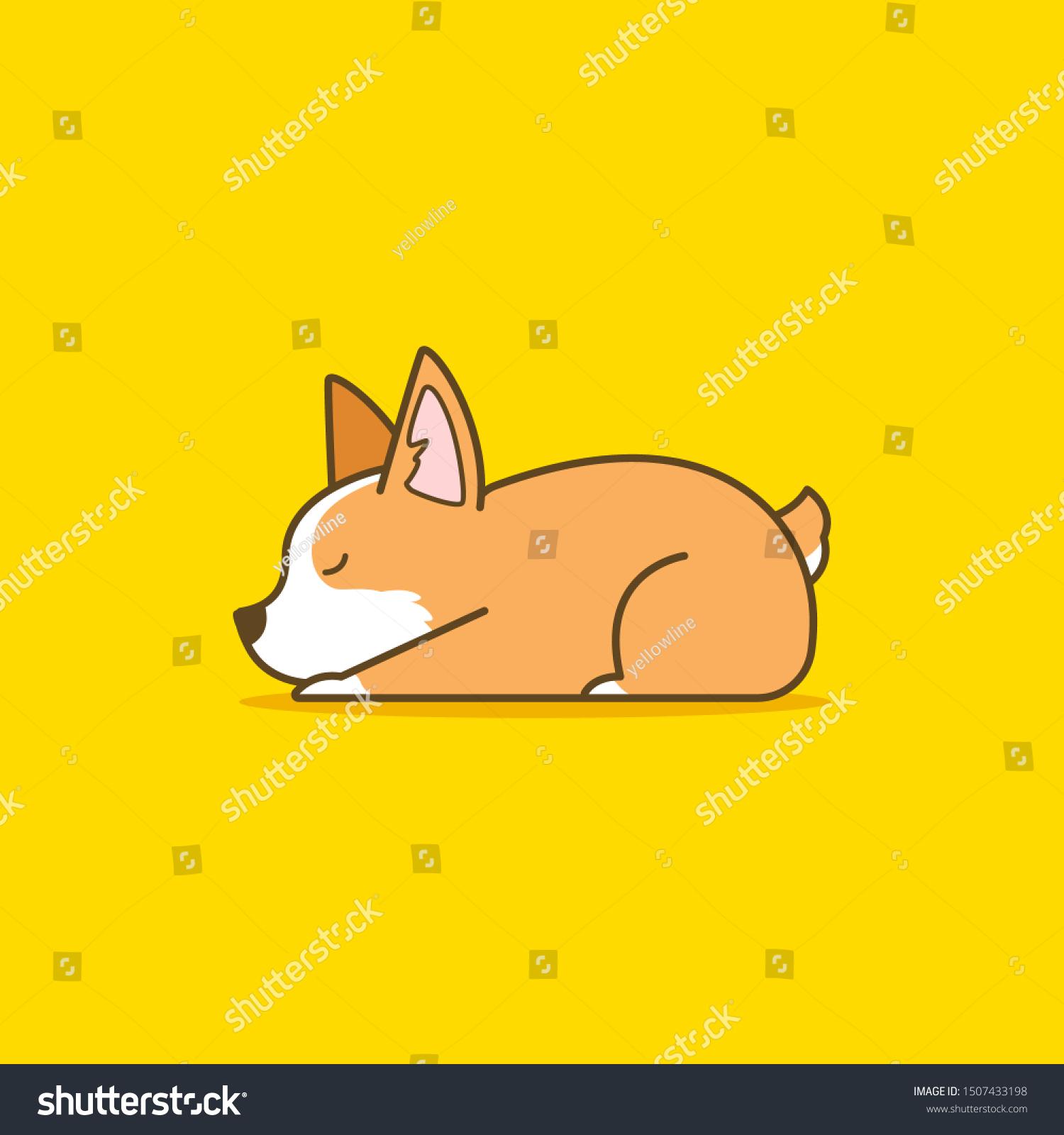 Sleeping Dog Illustration Sleeping Corgi Print Illustration Art Print Corgi Dog Illustration