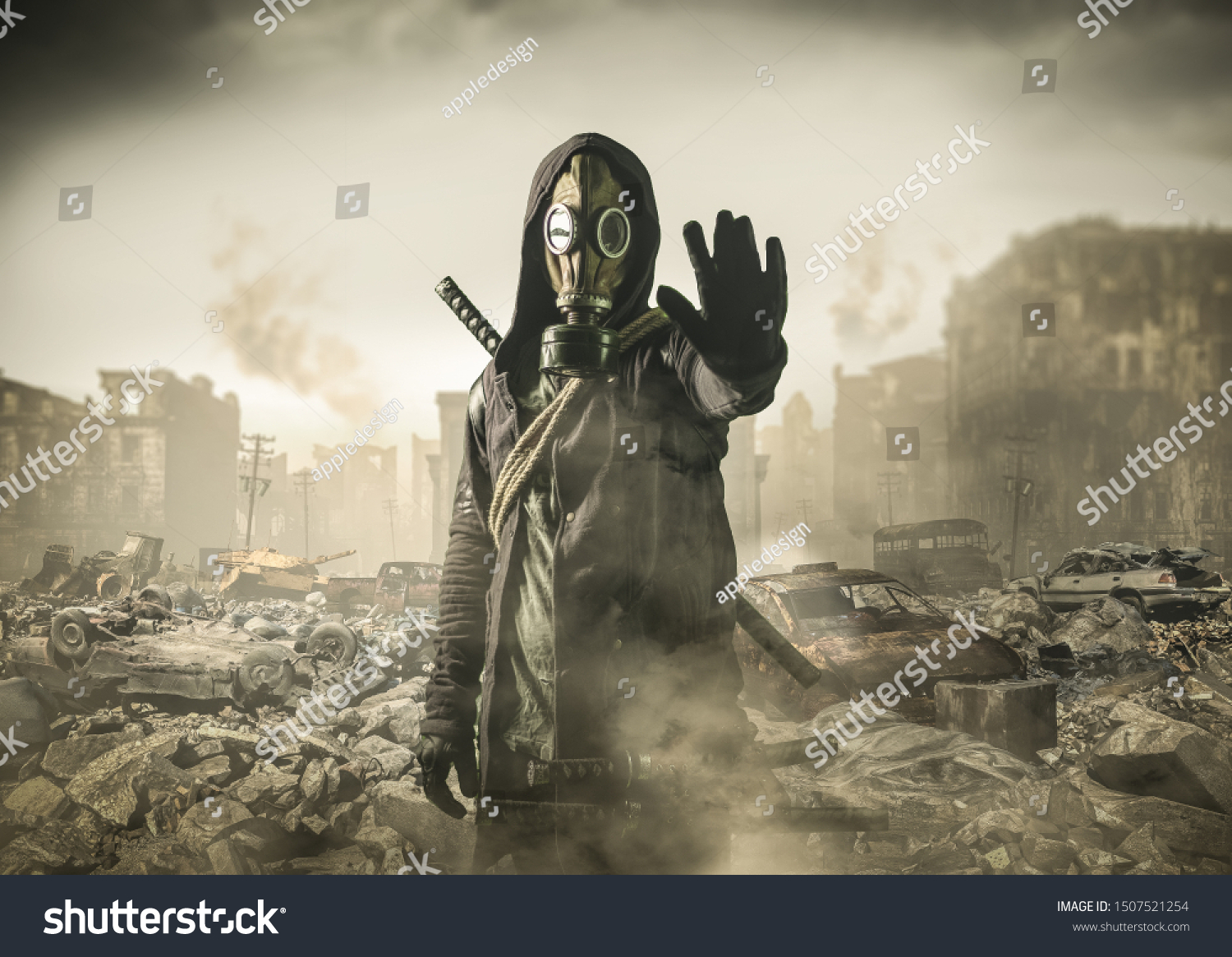 man in gas mask says stop the destruction in the world. , post Apocalypse #1507521254