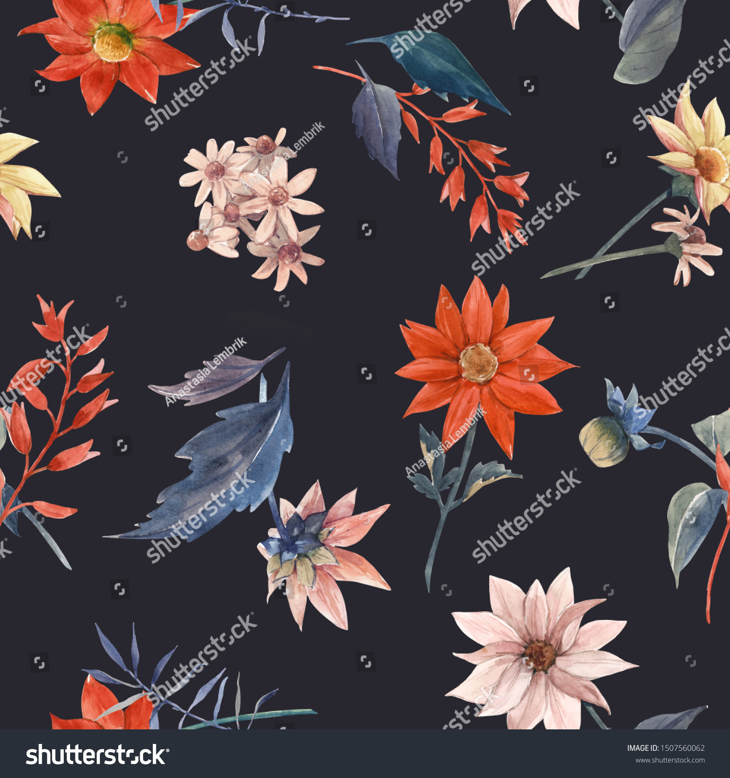 Watercolor Floral Wallpaper Red Dahlias Daisies Stock Illustration