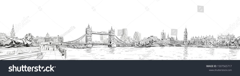Tower Bridge. Trafalgar Square.  Big Ben. London. England. City panorama. Collage of landmarks. Vector illustration. Urban sketch.  #1507565717