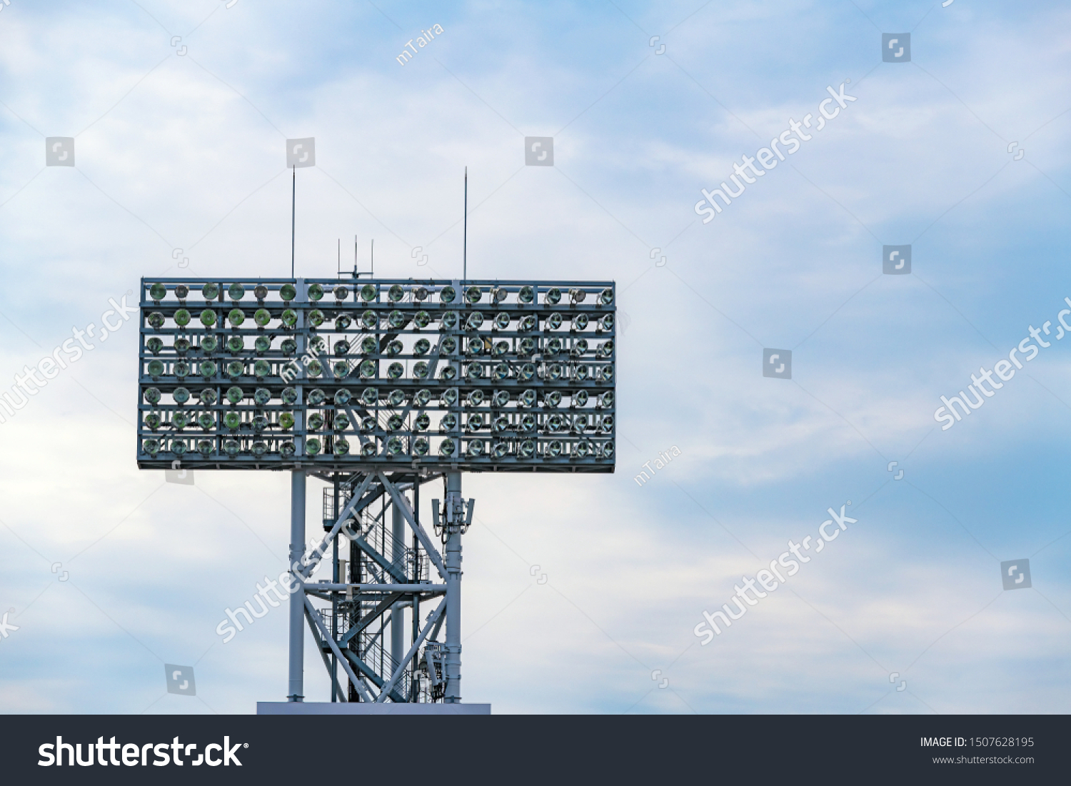 Illumination tower of the baseball stadium #1507628195