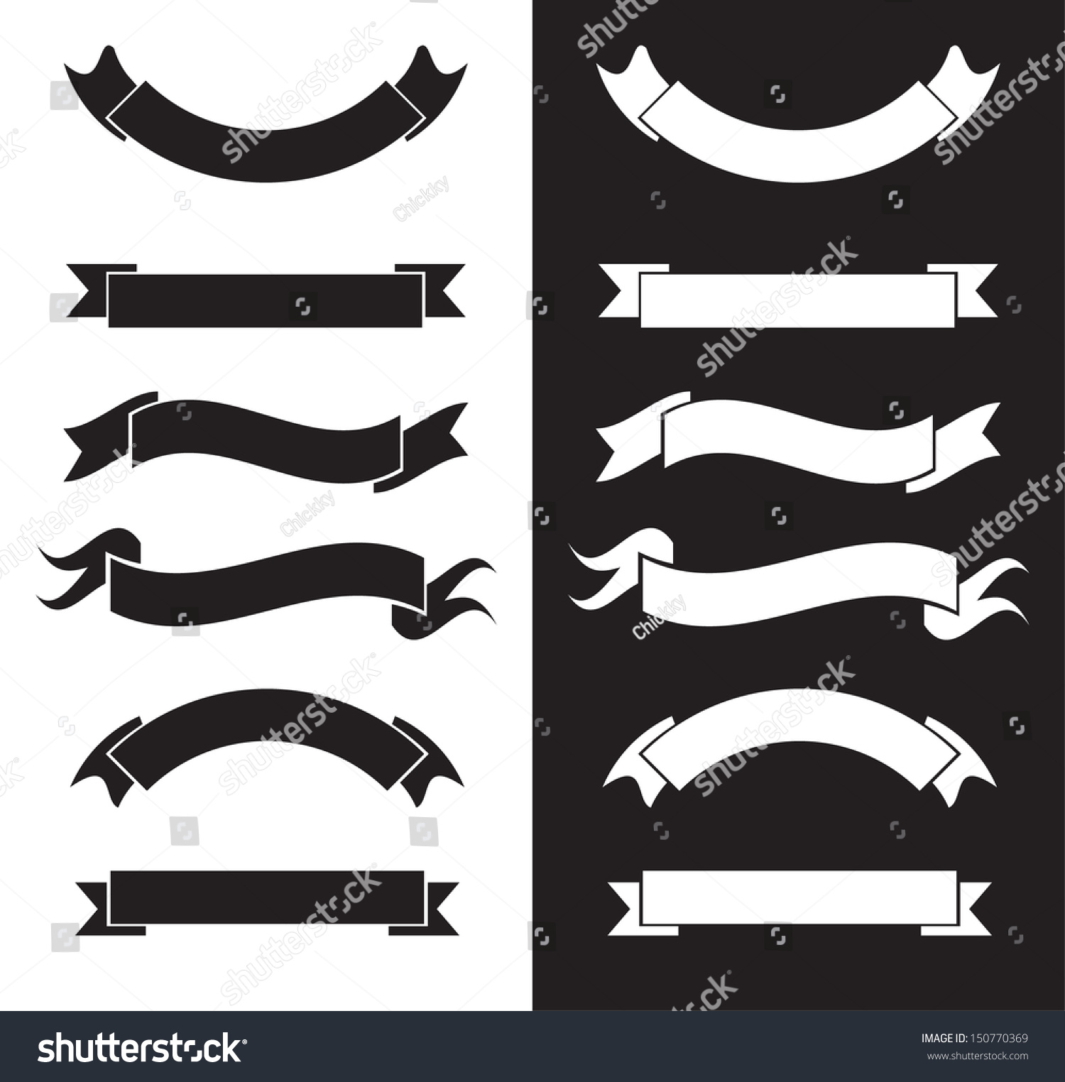 Black White Ribbons Stock Vector 150770369 - Shutterstock