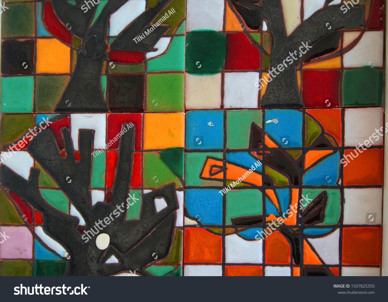 Multicolored Artistic Wall Decoration Designed Ceramic Stock Photo Edit Now 1507825355